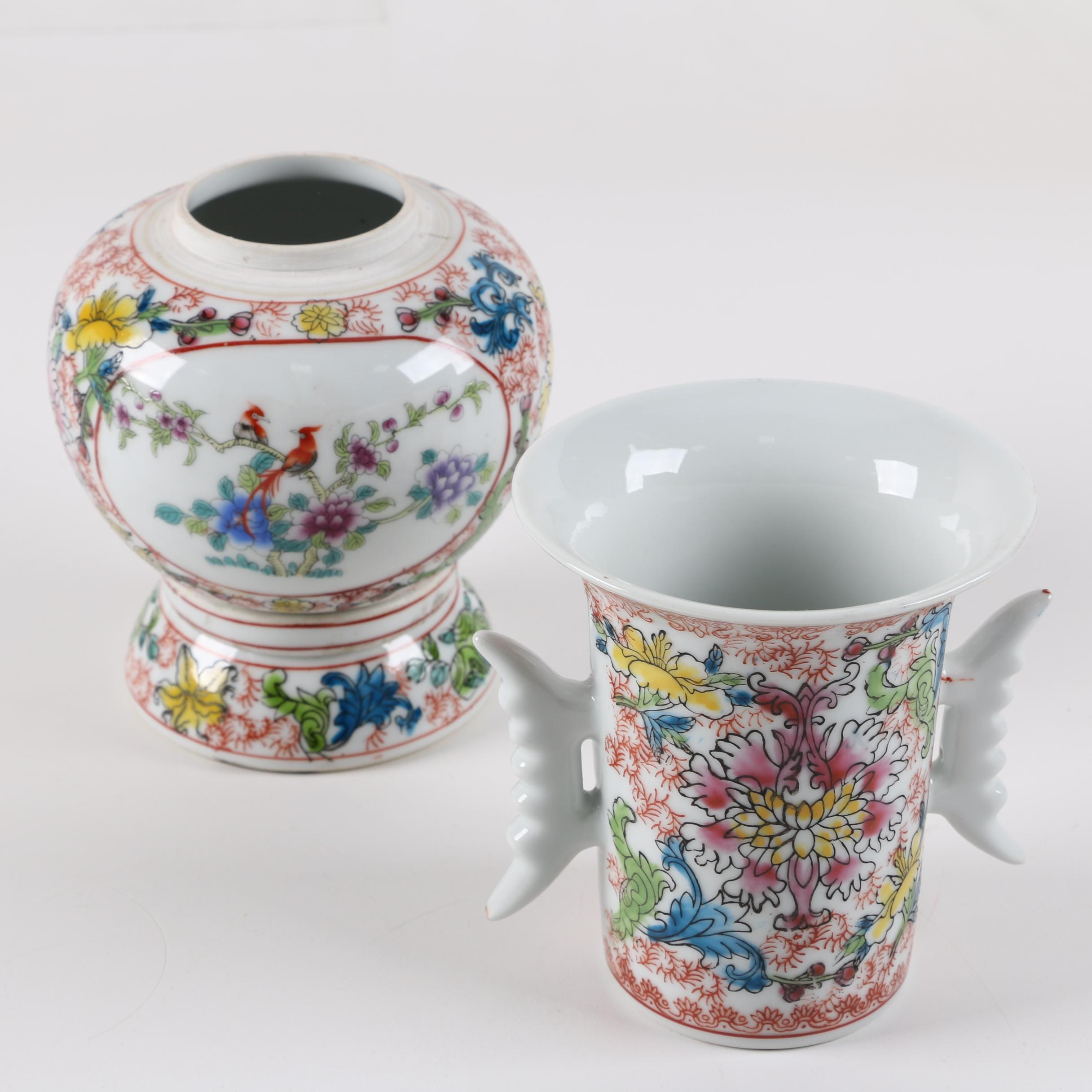 Chinese Porcelain Cup and lidded Jar