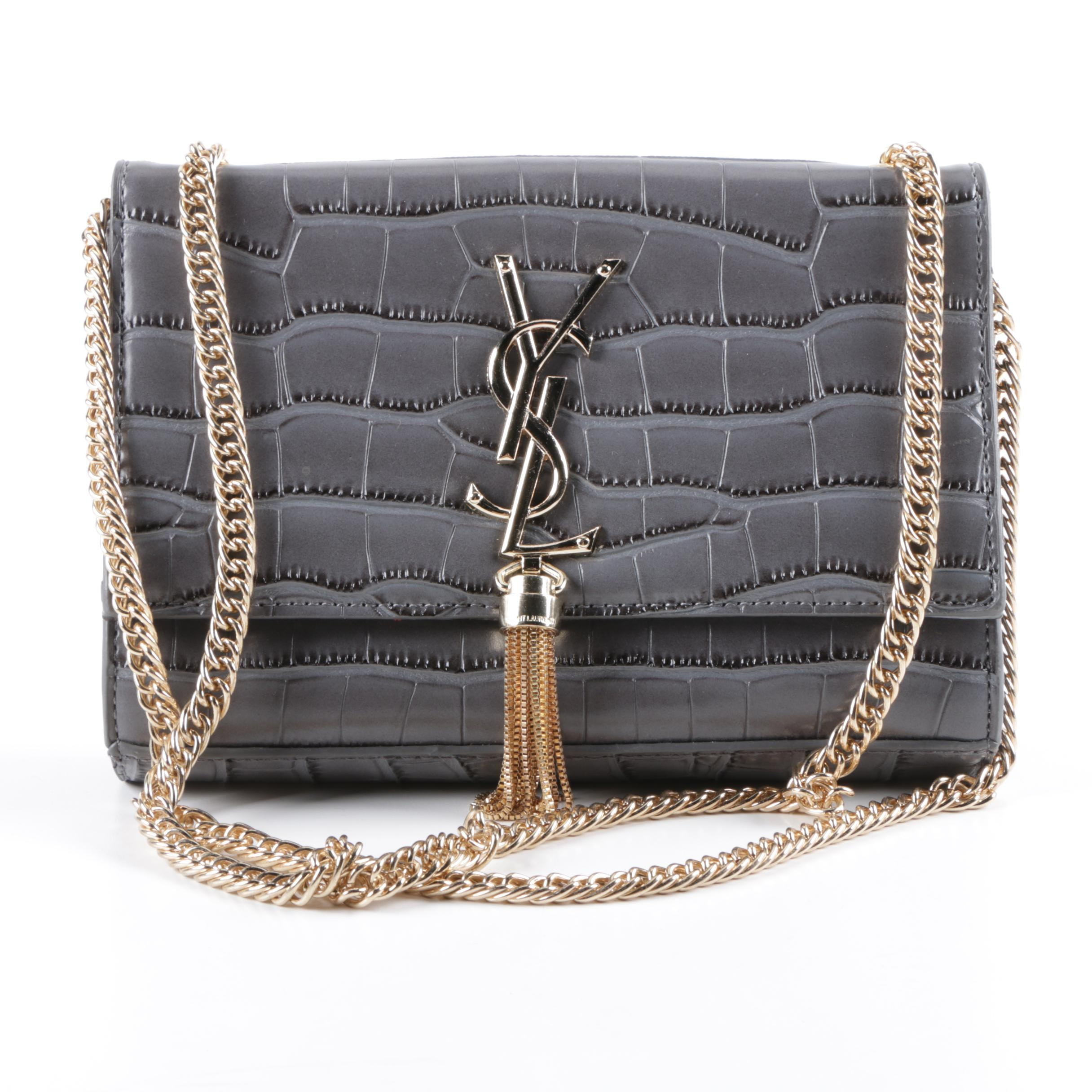 Yves Saint Laurent Embossed Convertible Clutch