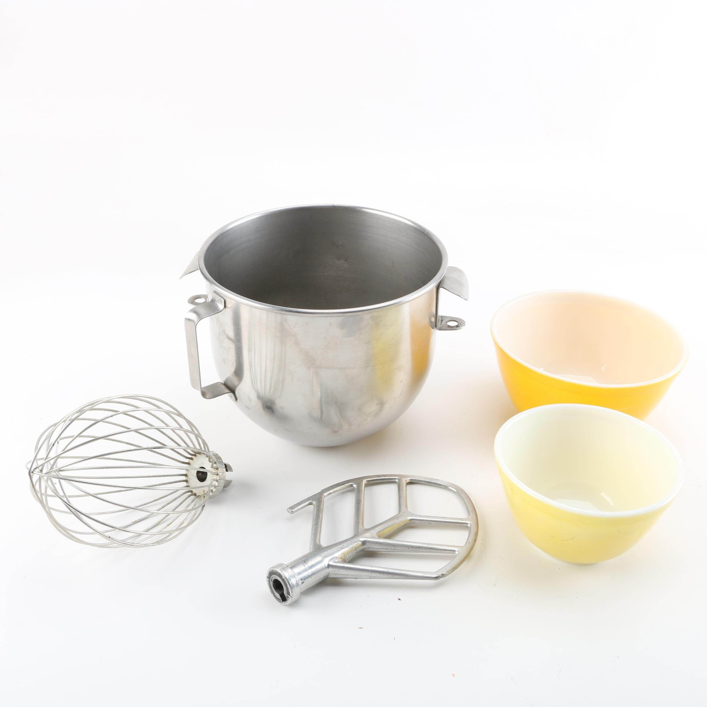 """Pyrex """"Primary Colors"""" Glass and Stainless Steel Mixing Bowls with Attachments"""
