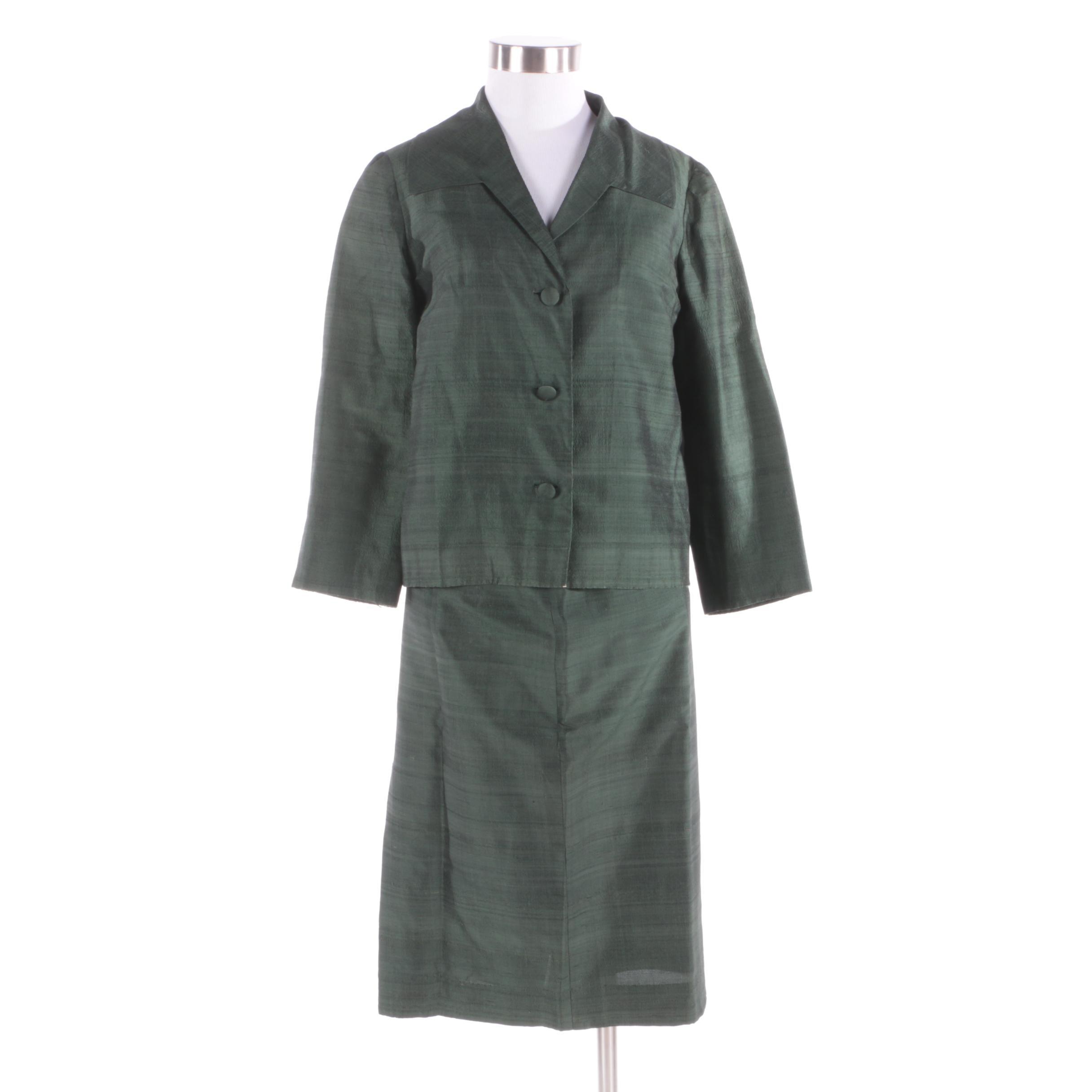 Circa 1960s Green Silk Blend Skirt Suit