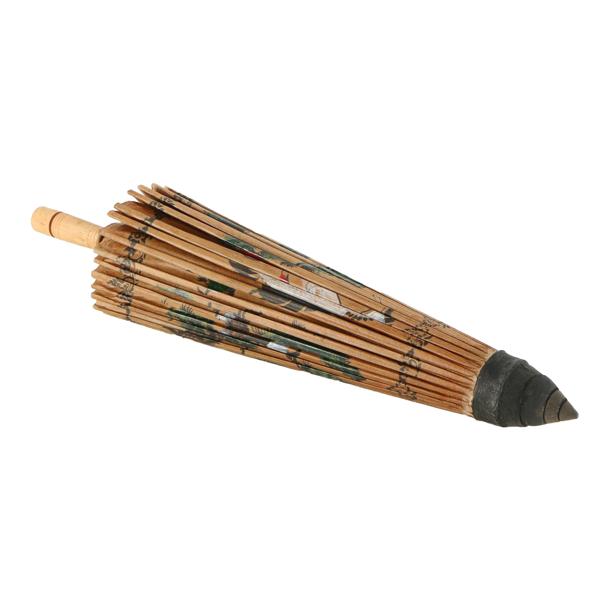 Chinese Hand-Painted Paper and Wood Umbrella