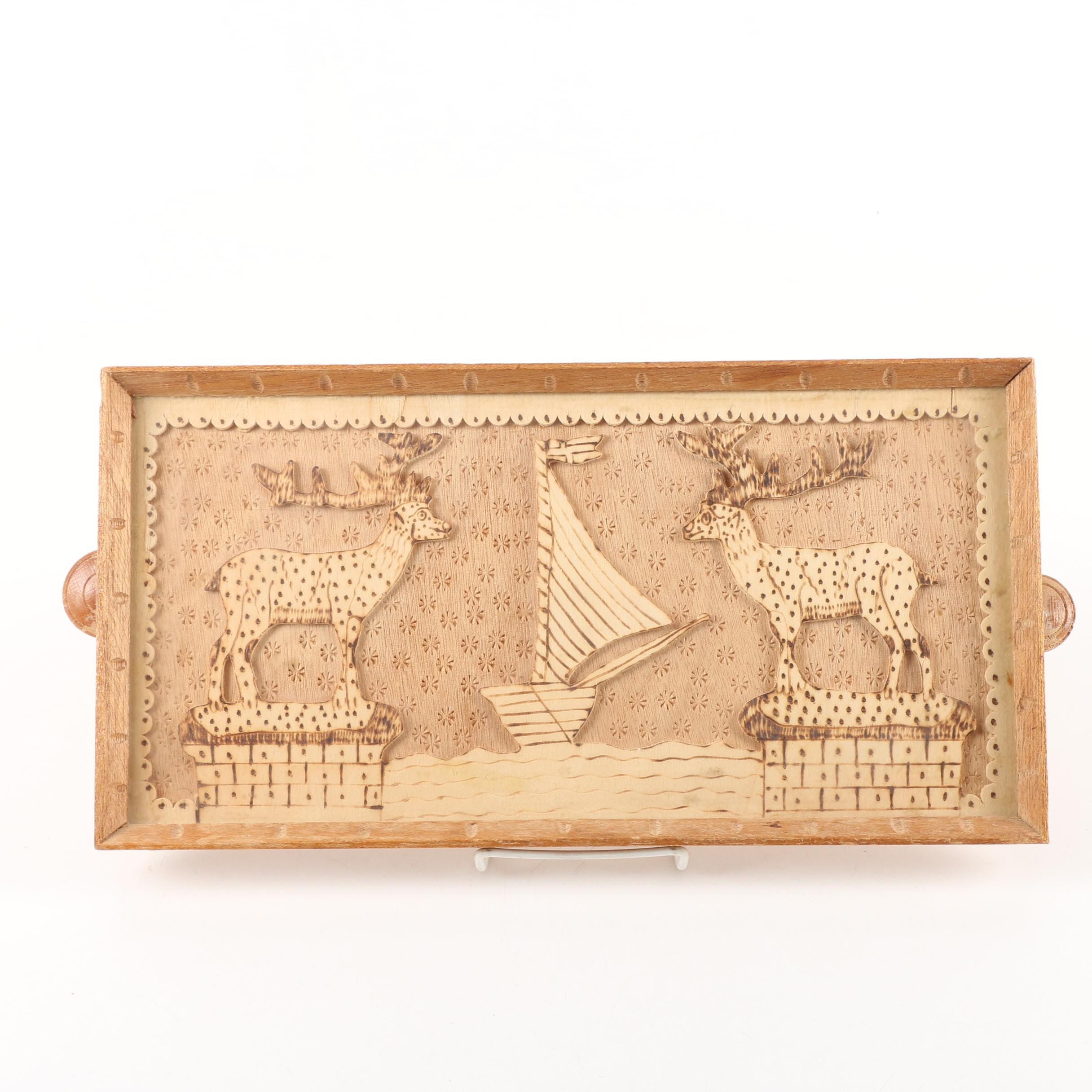 Carved Wood Serving Tray