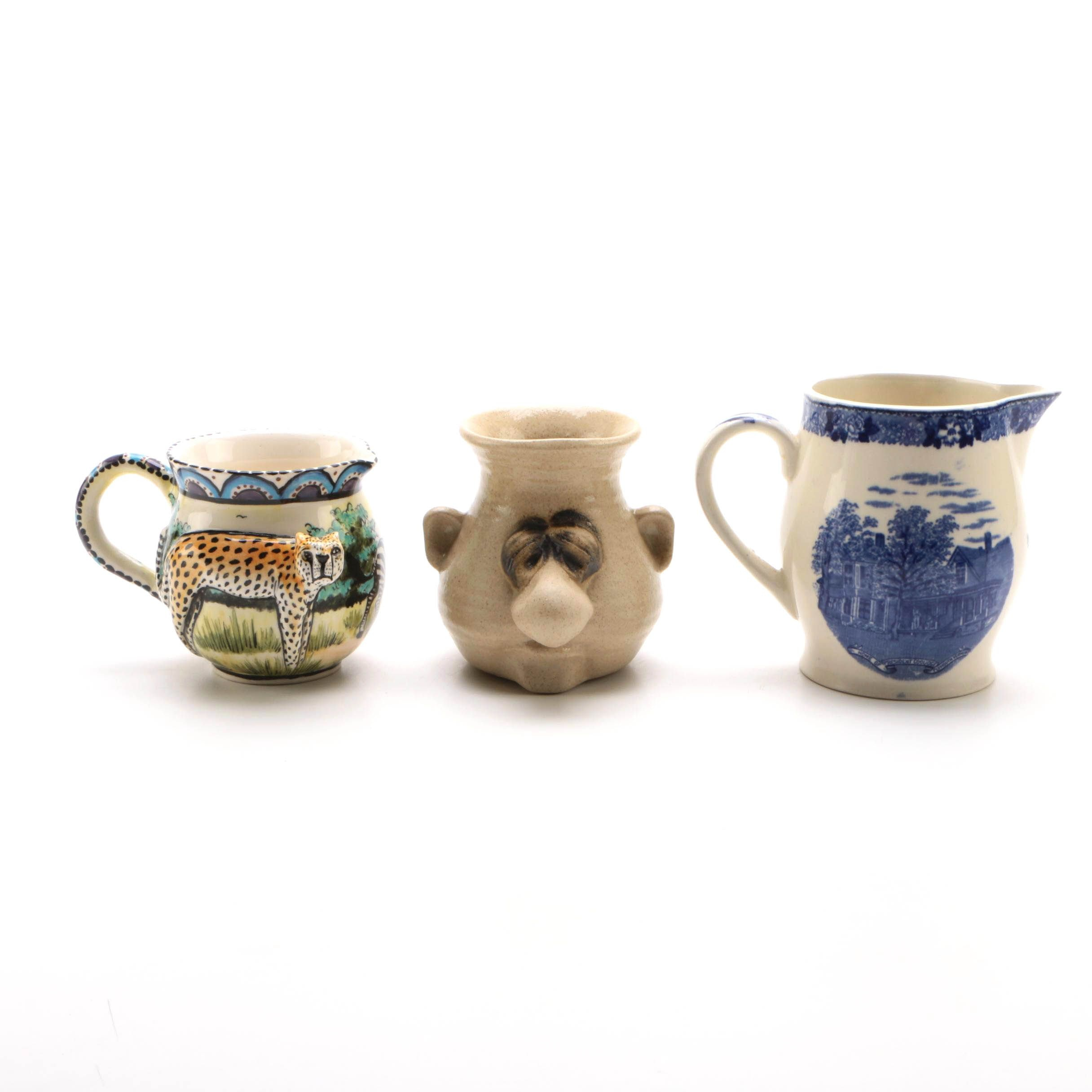 Handmade Ceramic Mugs and Adams Souvenir Series President Coolidge Creamer