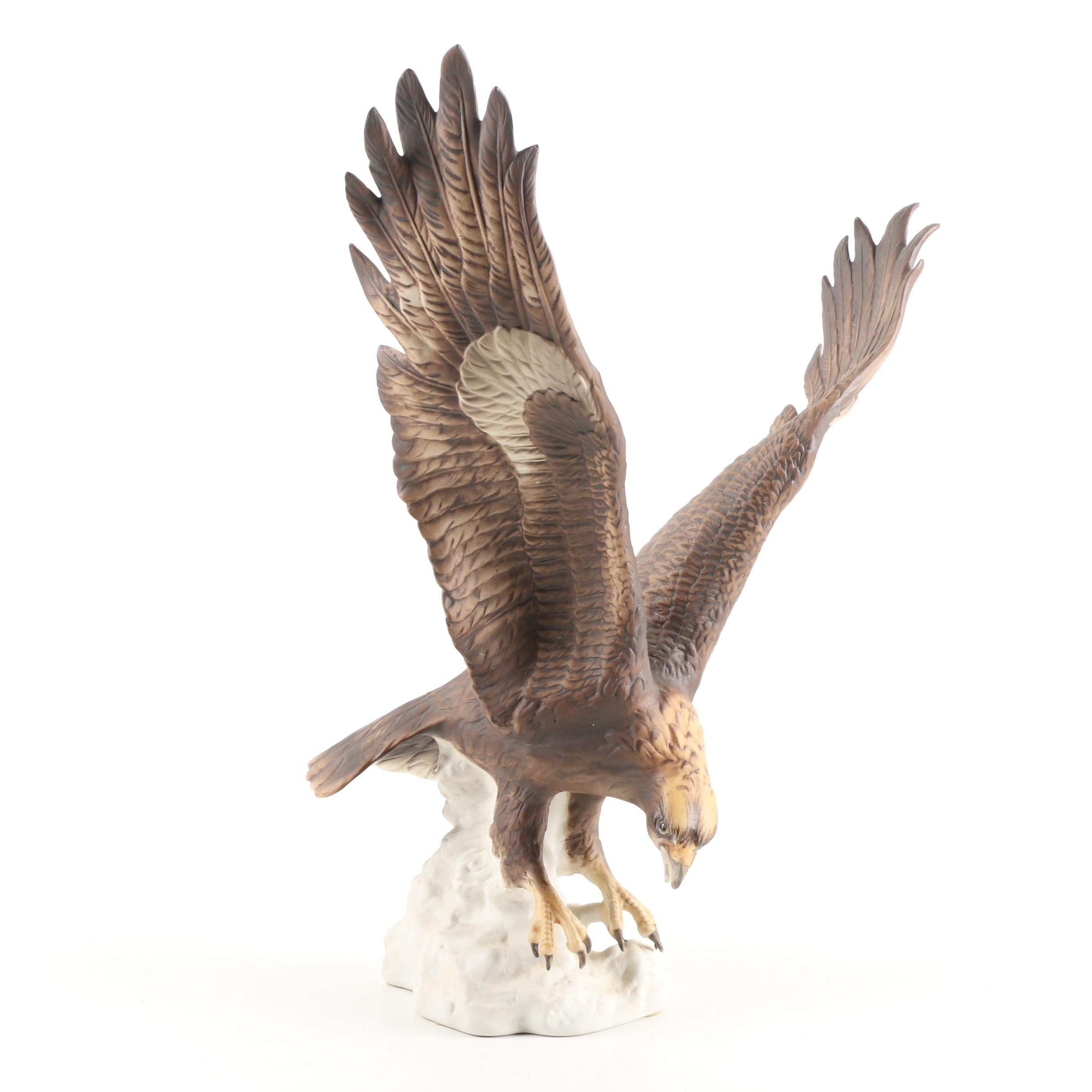 Royal Dux Bohemia Hand-Painted Porcelain Hawk Figurine