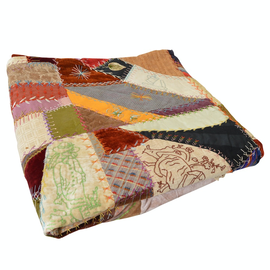 Circa 1881 Crazy Quilt Top with Added Velvet and Lace Border