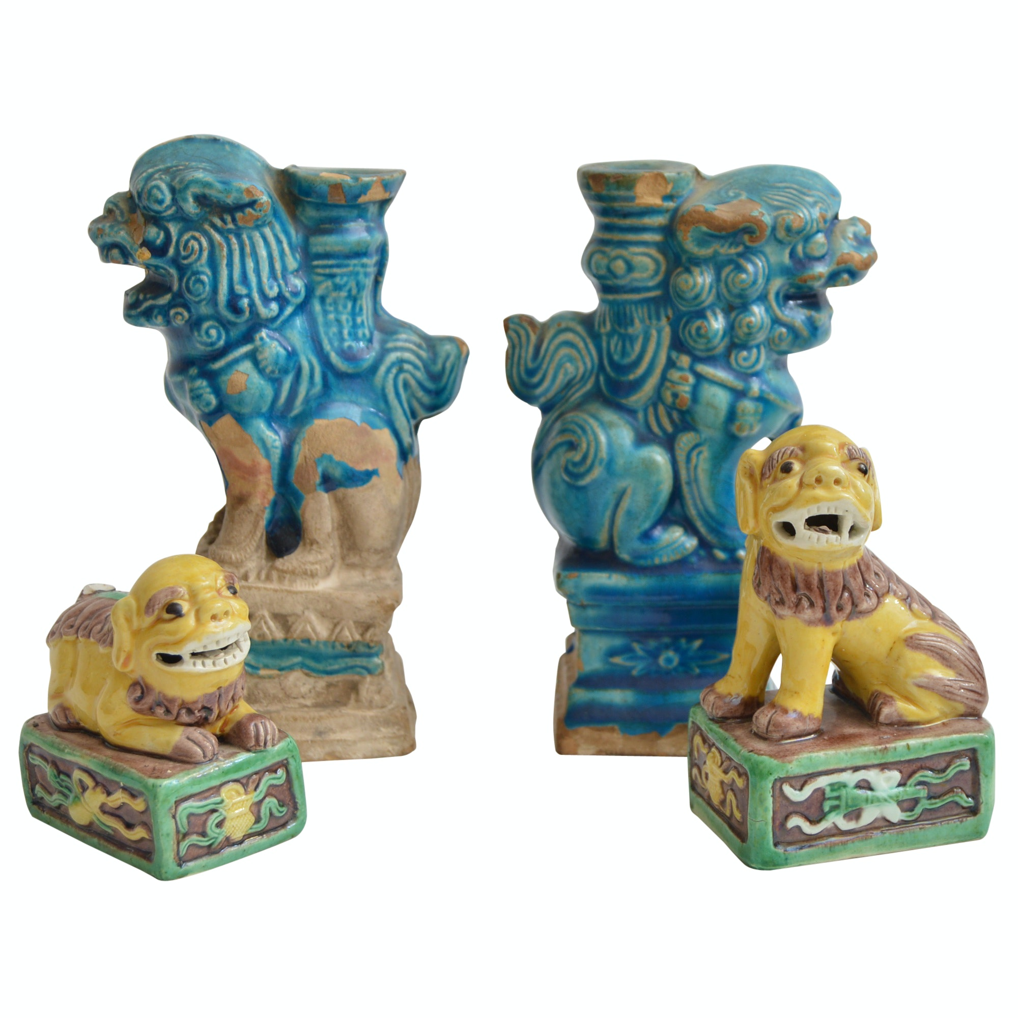 Vintage Chinese Guardian Lion Figurines and Candleholders