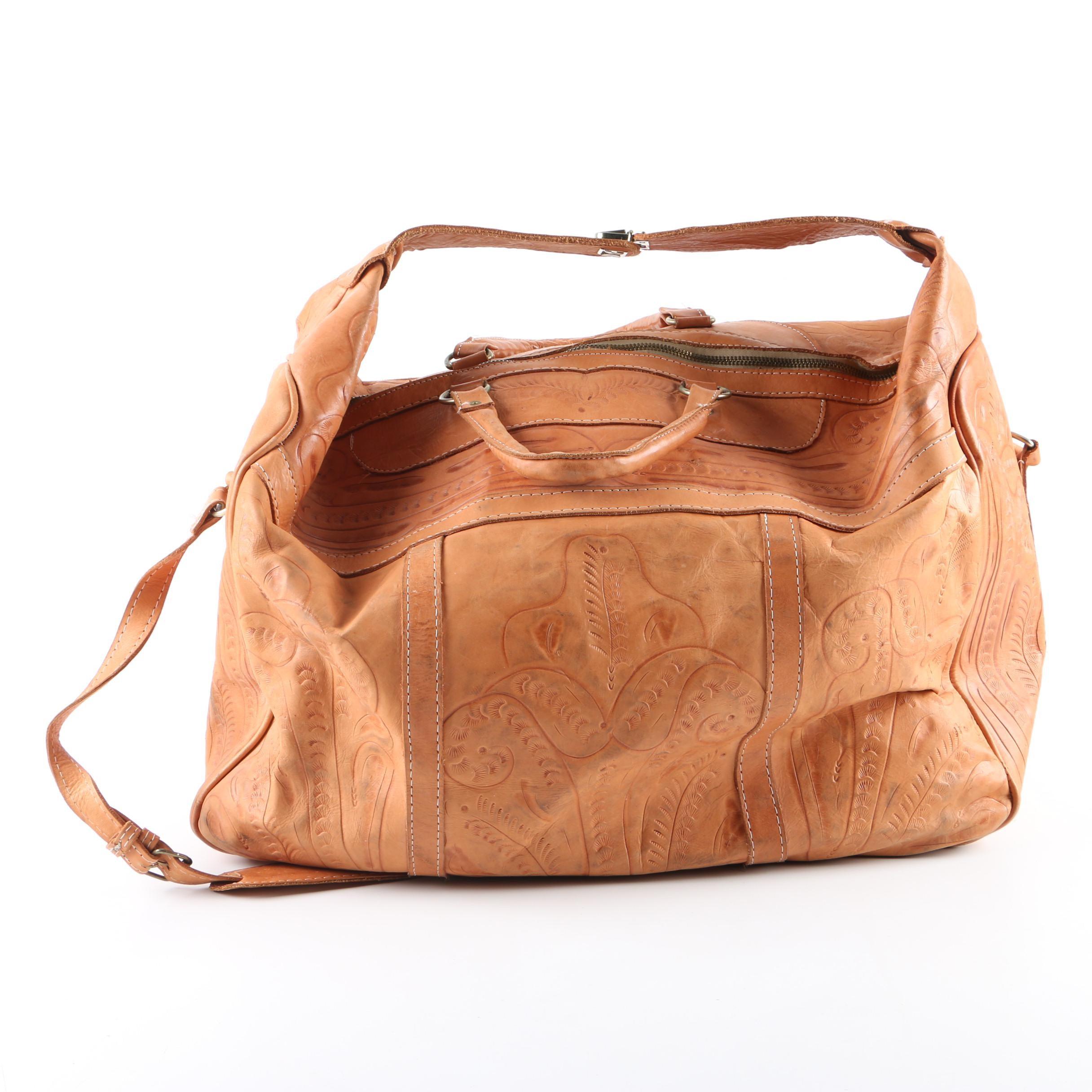 Tan Tooled Leather Weekender Bag