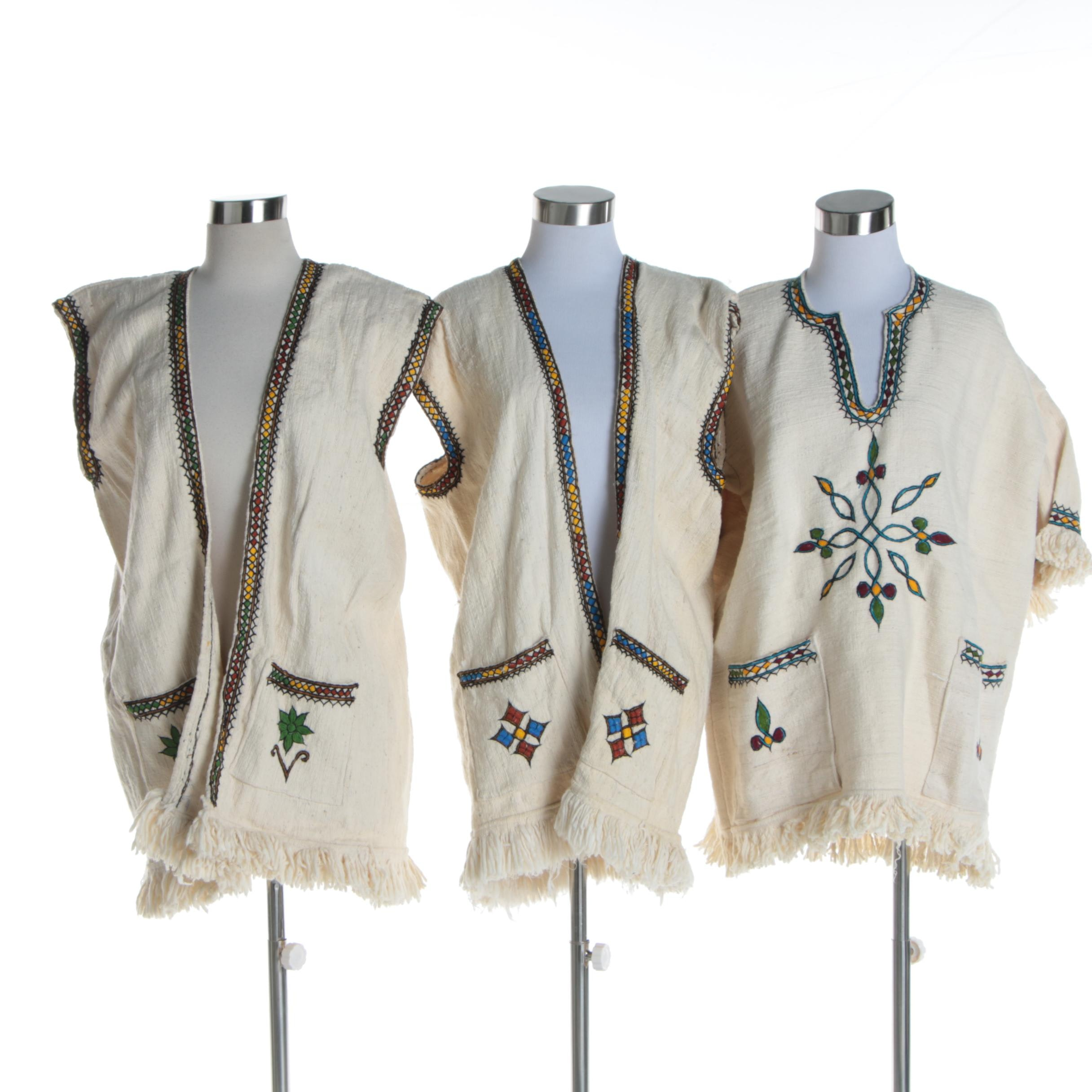 Handwoven and Embroidered Ethiopian Tunic with Matching Vests