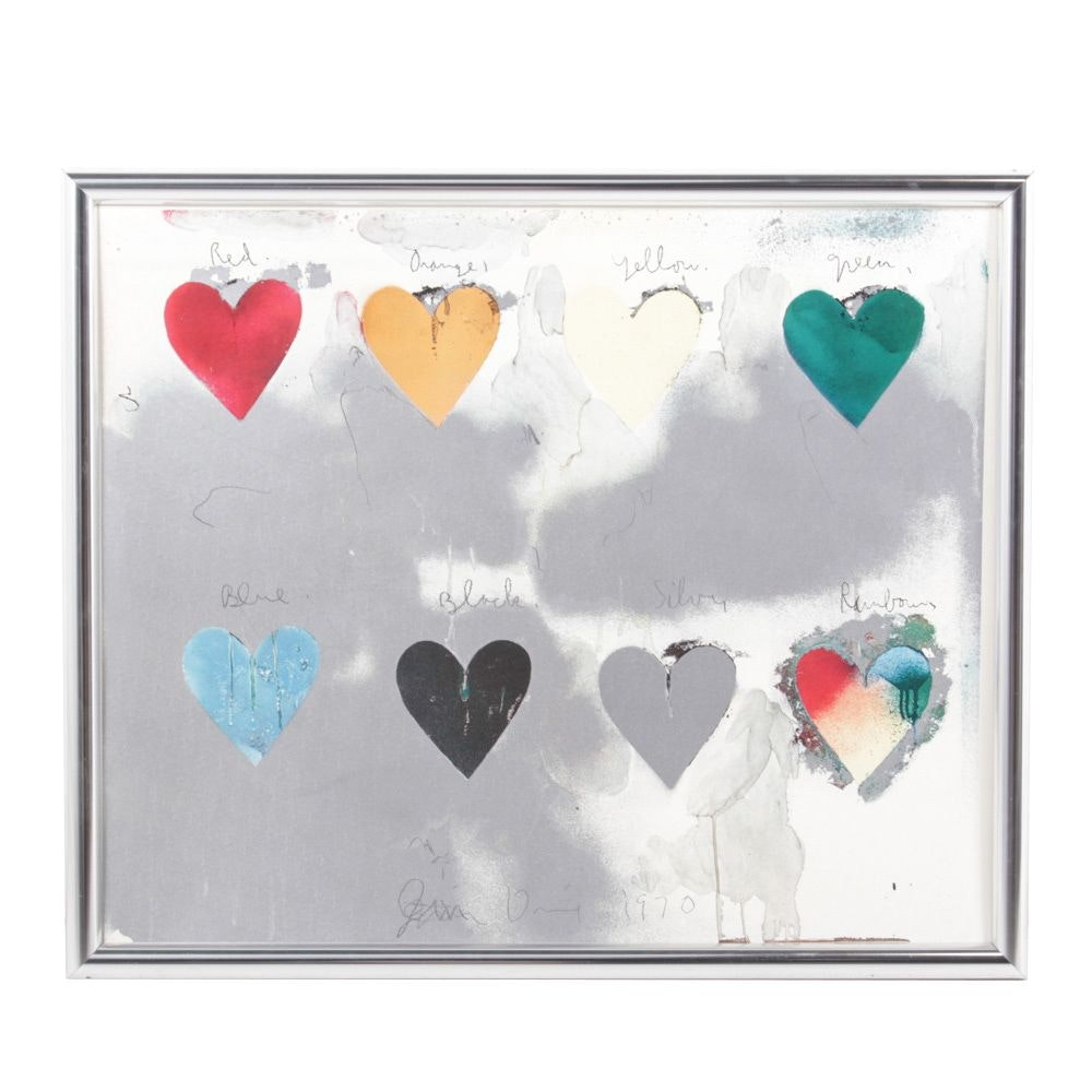 """Jim Dine Lithograph Poster """"Eight Hearts"""""""