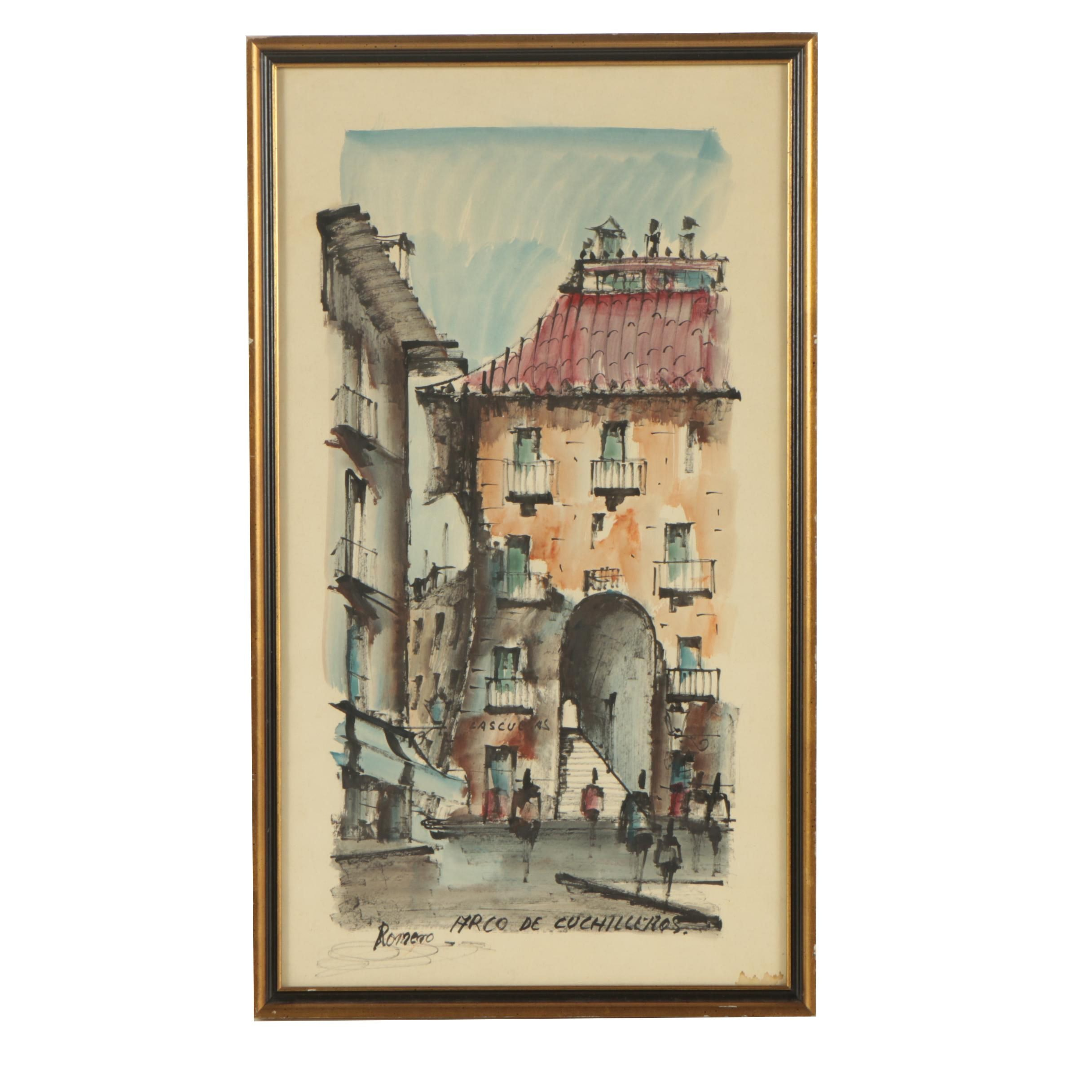 "Watercolor Painting Attributed to Romero ""Arco de Cuchilleros"""