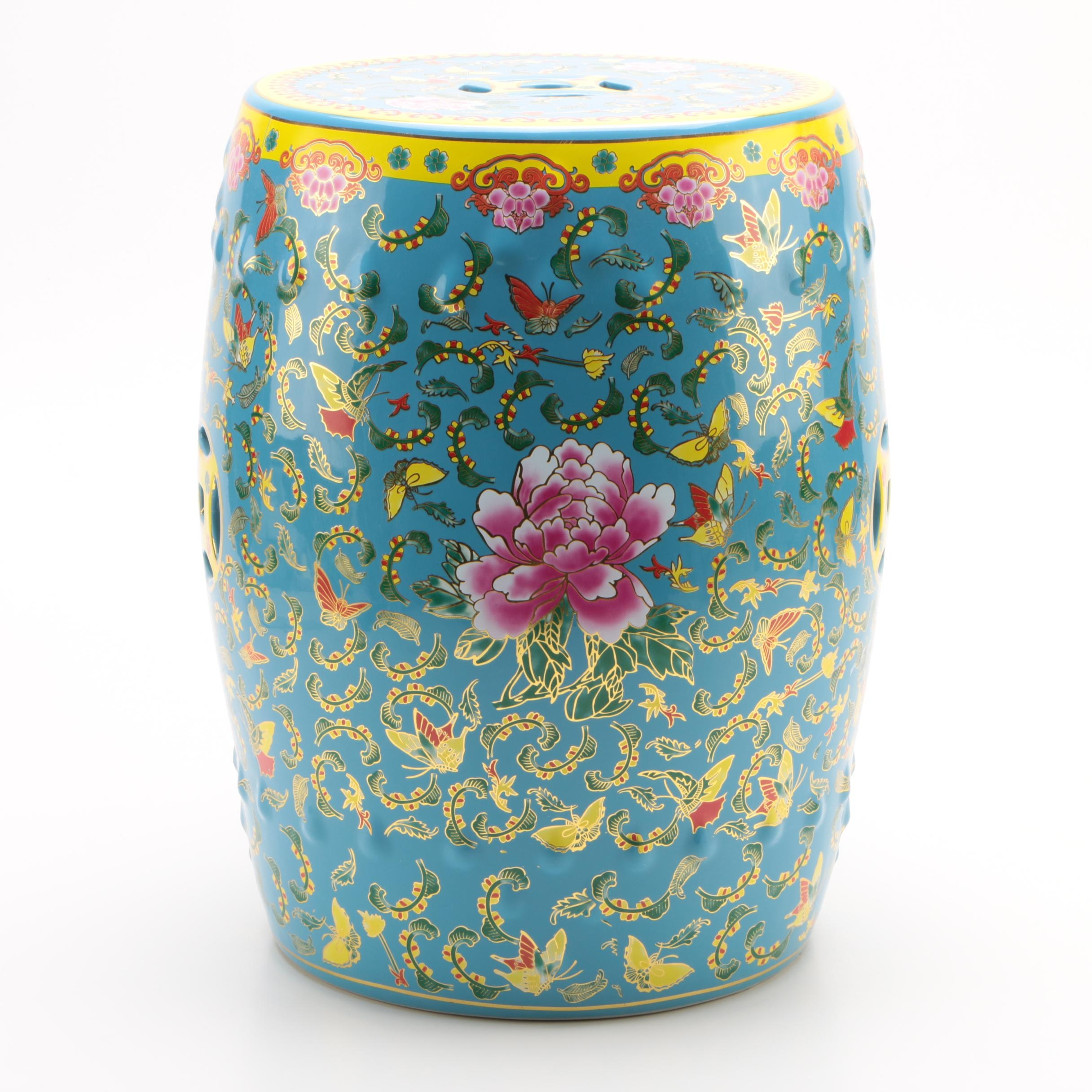 Chinese Blue And Yellow Ceramic Garden Stool With Flower And Butterfly  Motif ...