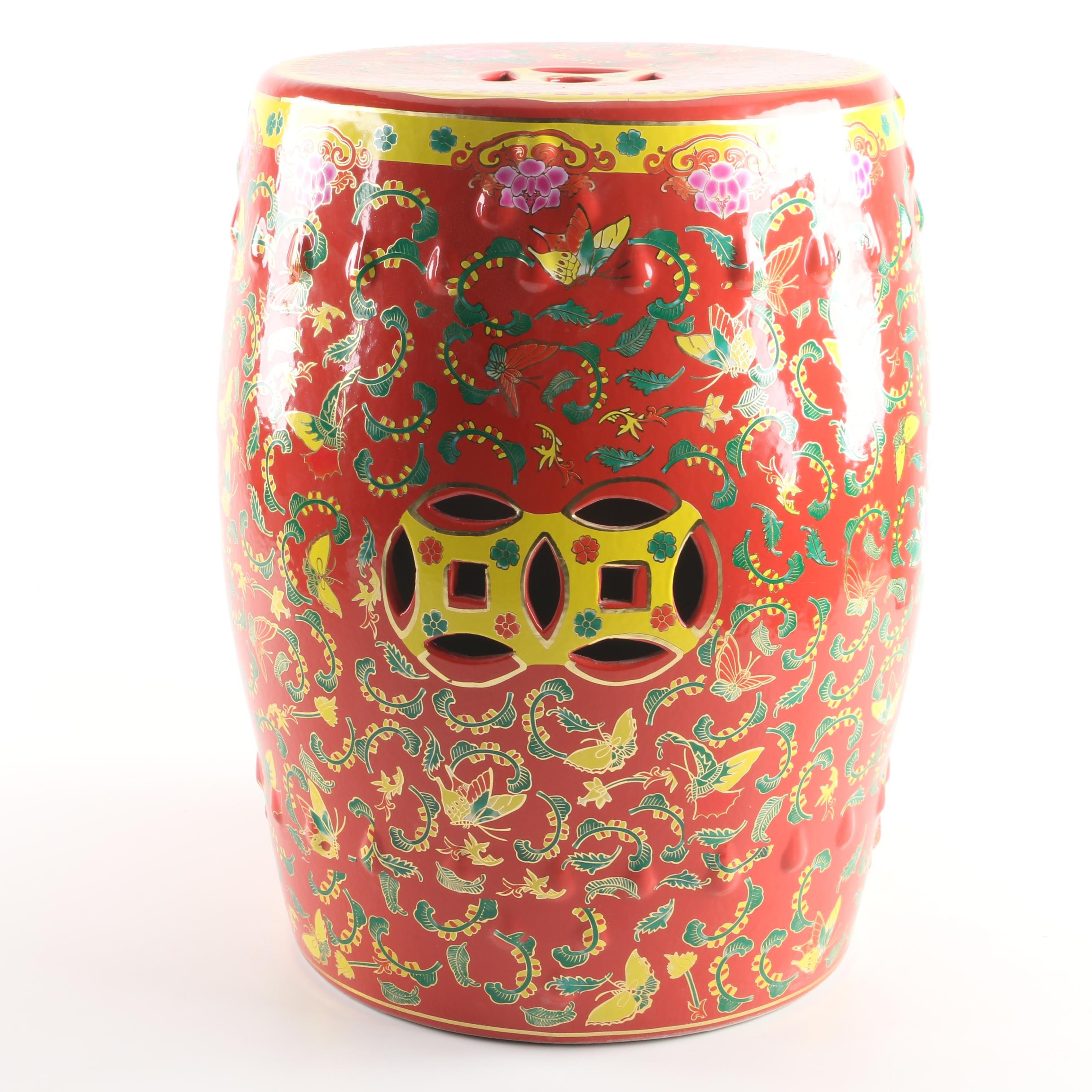 Chinese Red Painted Garden Stool with Hand-Painted Floral Motif