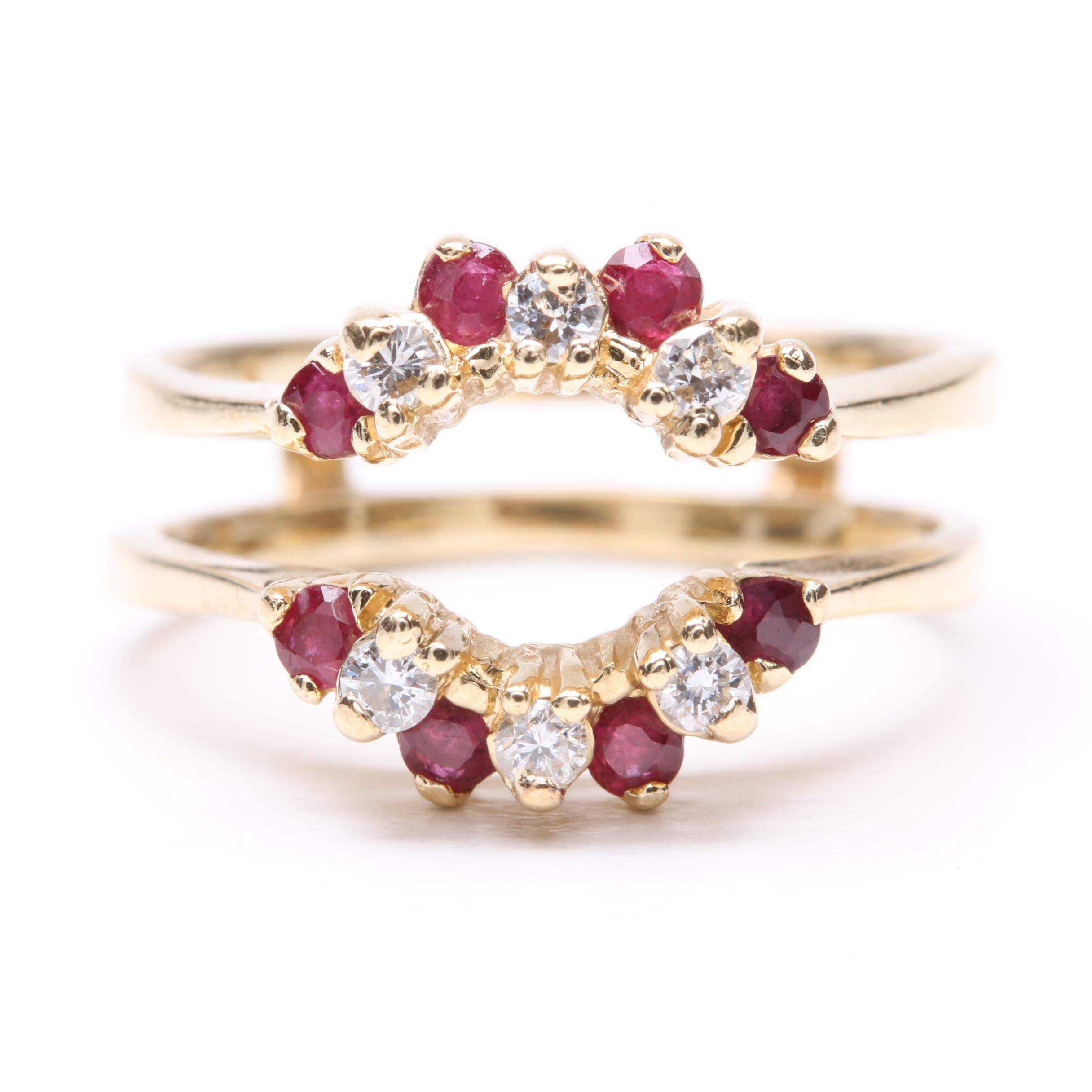 14K Yellow Gold Ruby and Diamond Ring Jacket