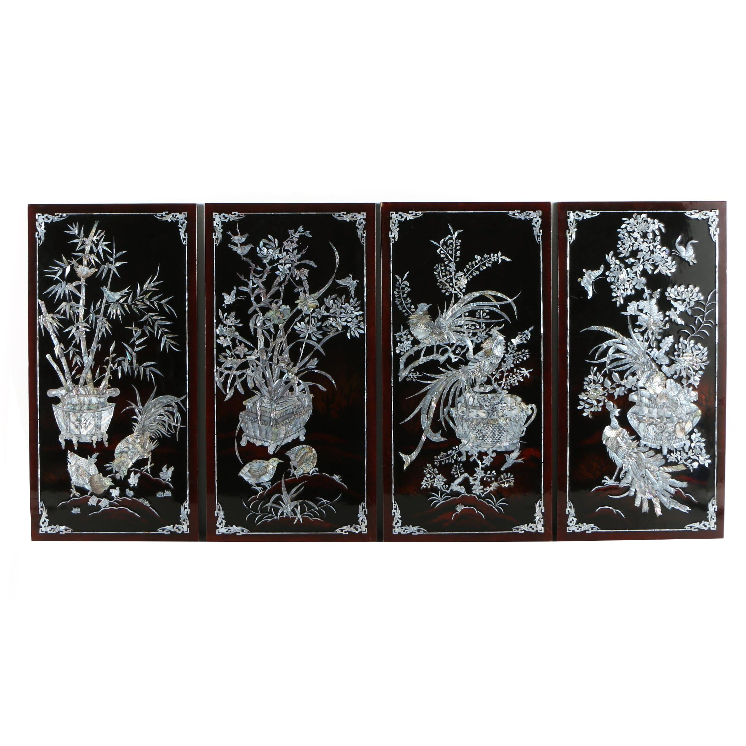 Chinese Inlaid Abalone Lacquered Wood Panels