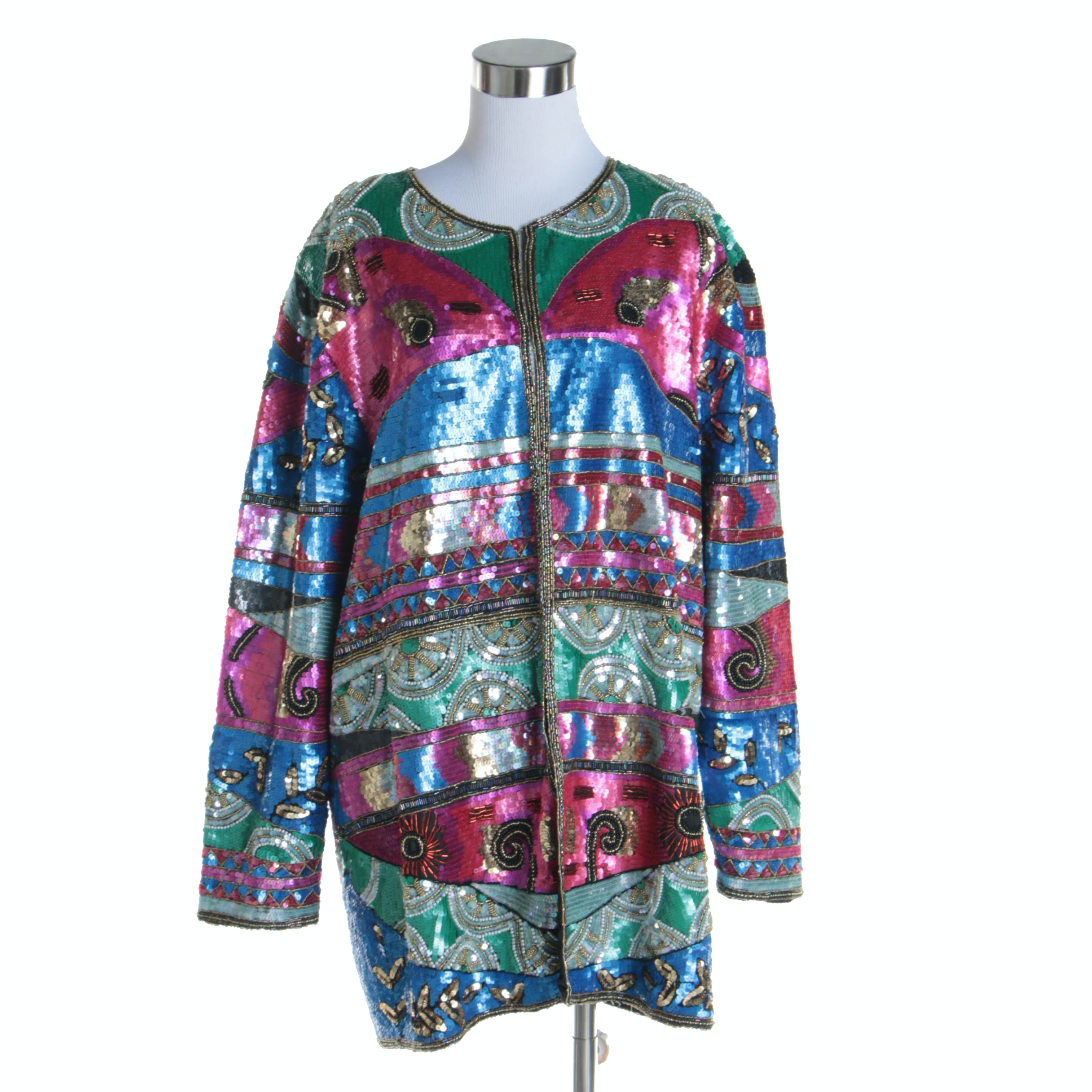 Women's Vintage Gunit Multicolored Silk Jacket with Sequin Embellishments
