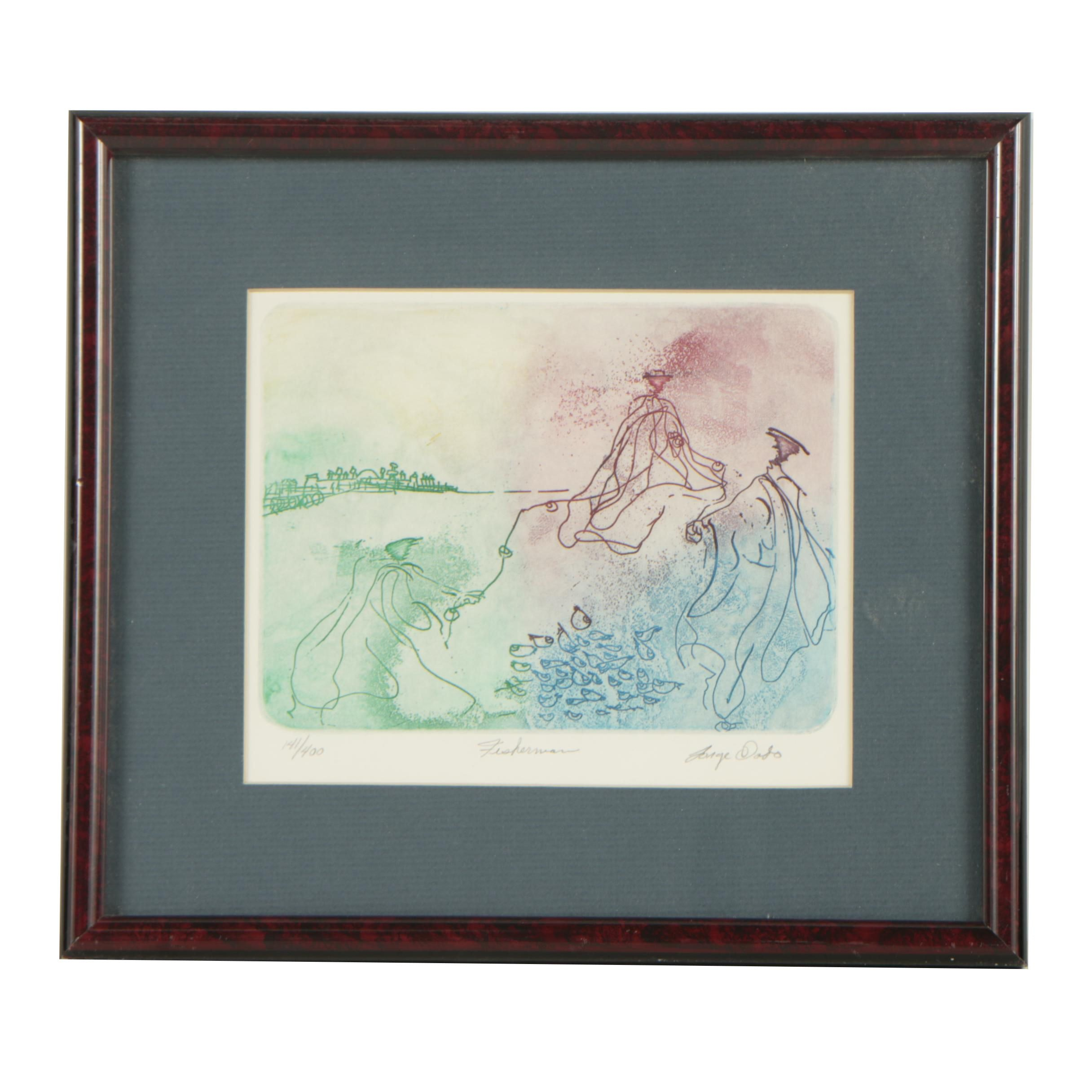"Jorge Dado Limited Edition Color Etching ""Fisherman"""