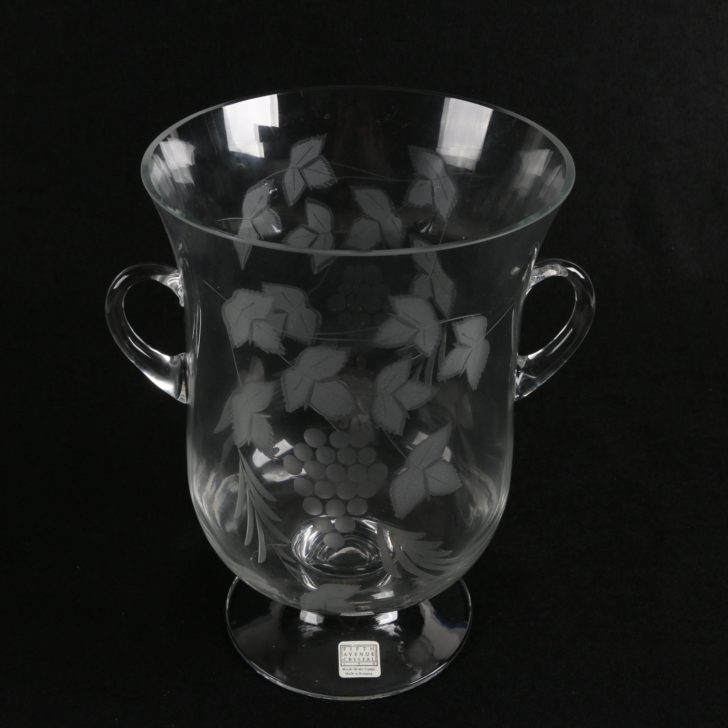 Contemporary Fifth Avenue Crystal Mouth-Blown and Etched Crystal Vase