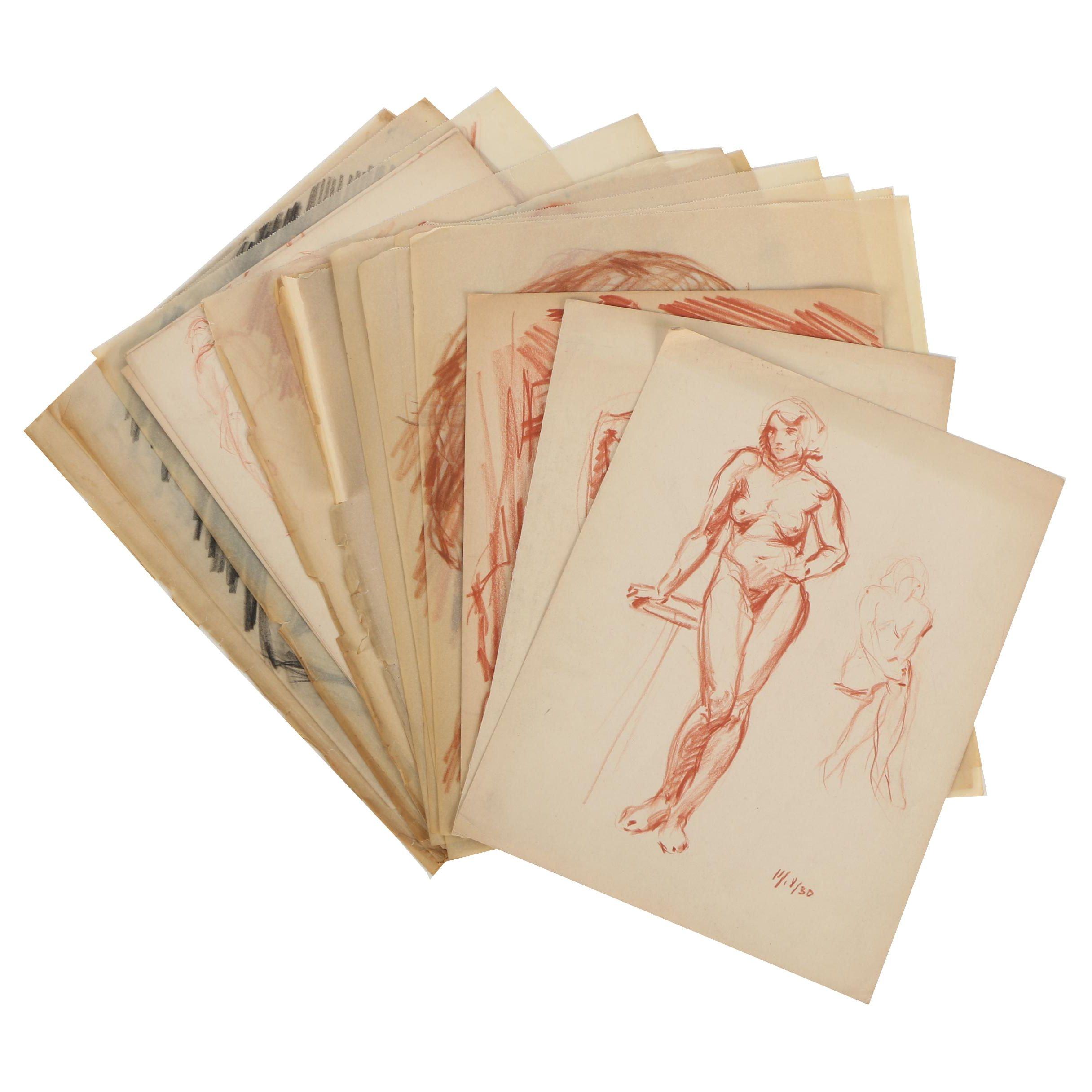 Florence Smithburn Charcoal and Sanguine Figure Studies