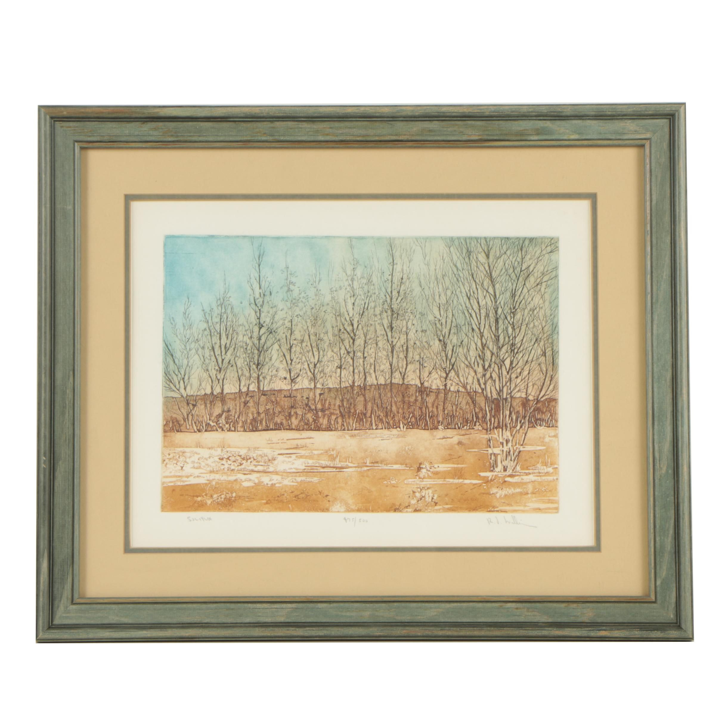 "R. F. Williams Limited Edition Color Etching ""Solitude"""