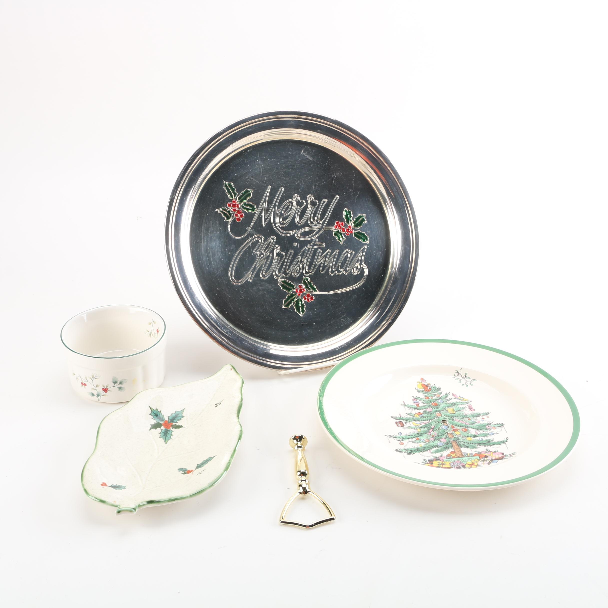 Holiday Themed China and Metal Serveware Featuring Spode and Pfaltzgraff