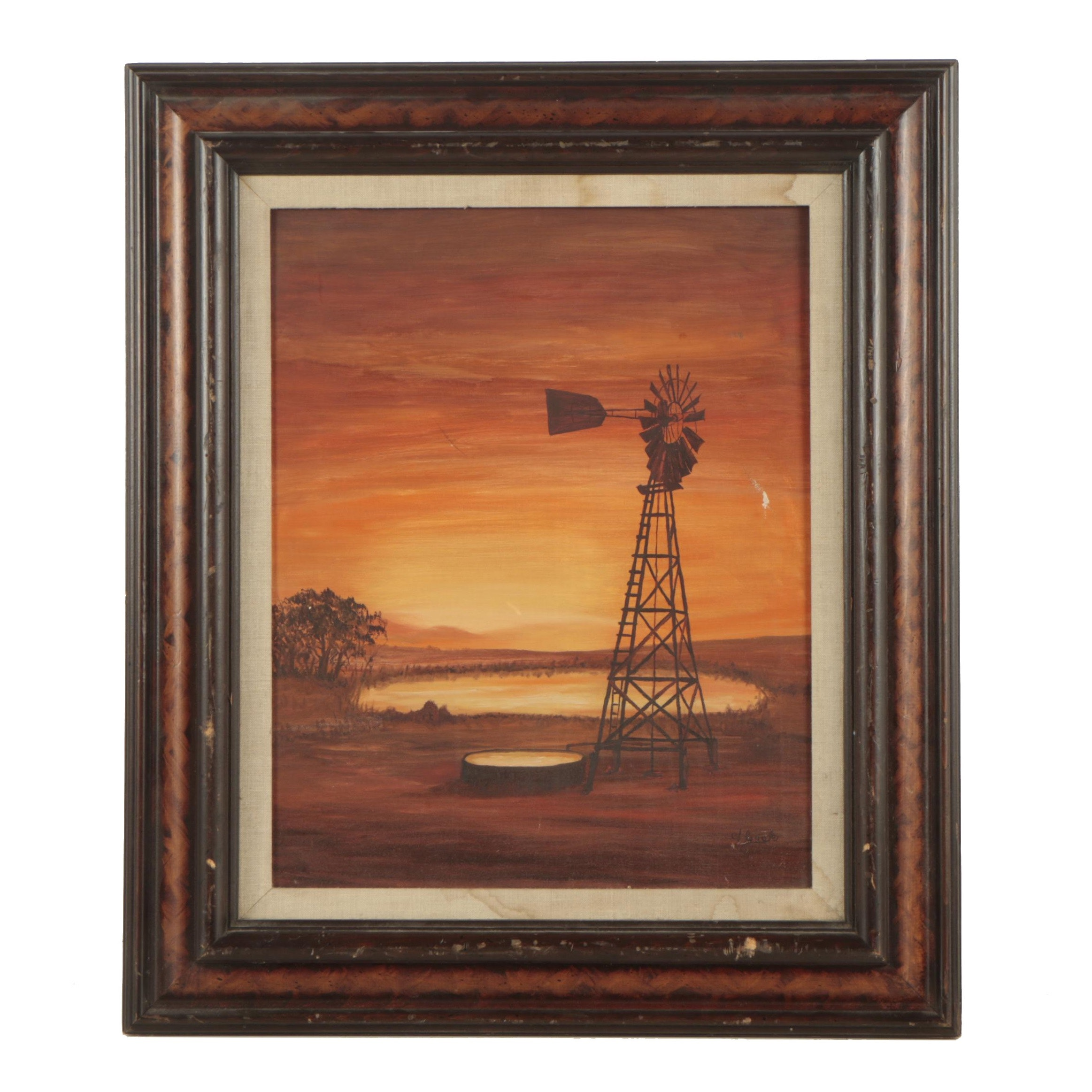 V. Cook  Acrylic Painting of Windmill
