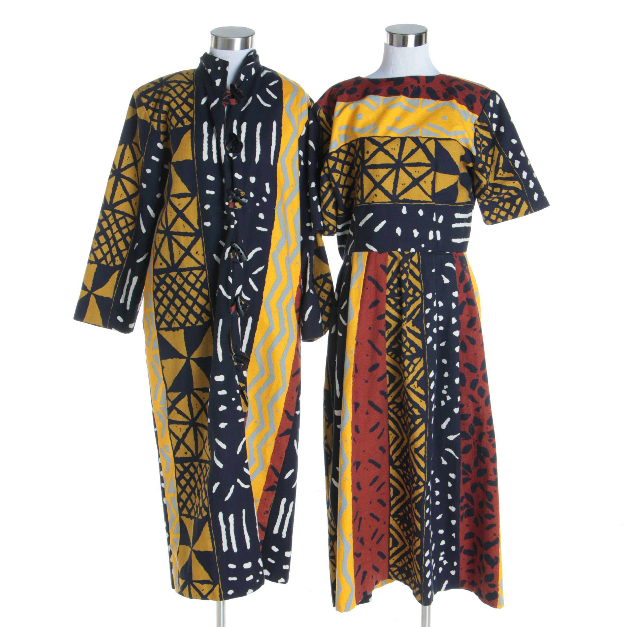 Women's Vintage Handmade African Mudcloth-Style Ensemble