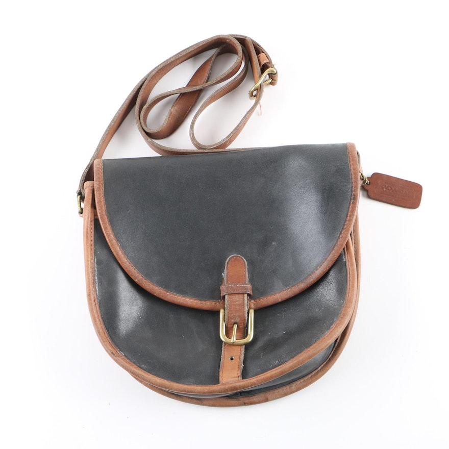 1980s Vintage Coach Black and Brown Leather Slim Saddle Bag   EBTH 657857e8b37f8