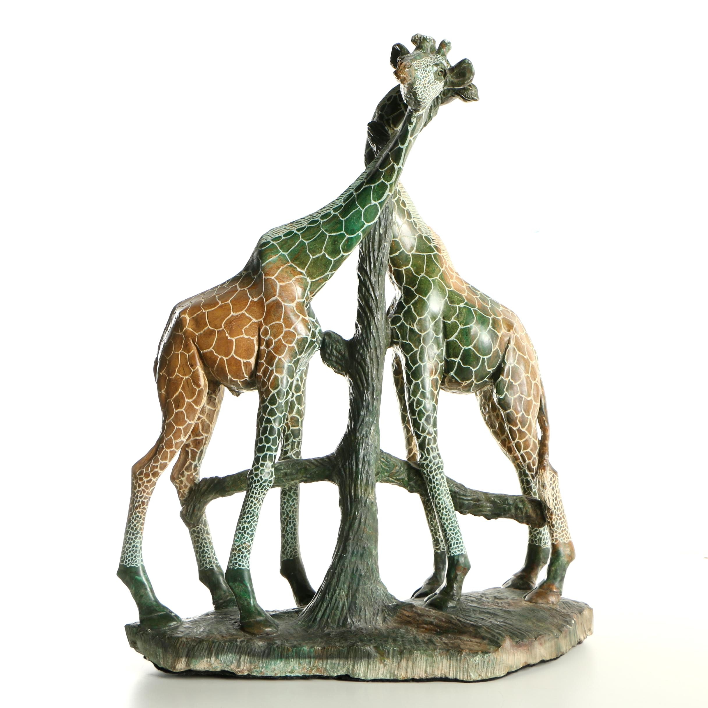 Kenyan Soapstone Sculpture of Giraffes