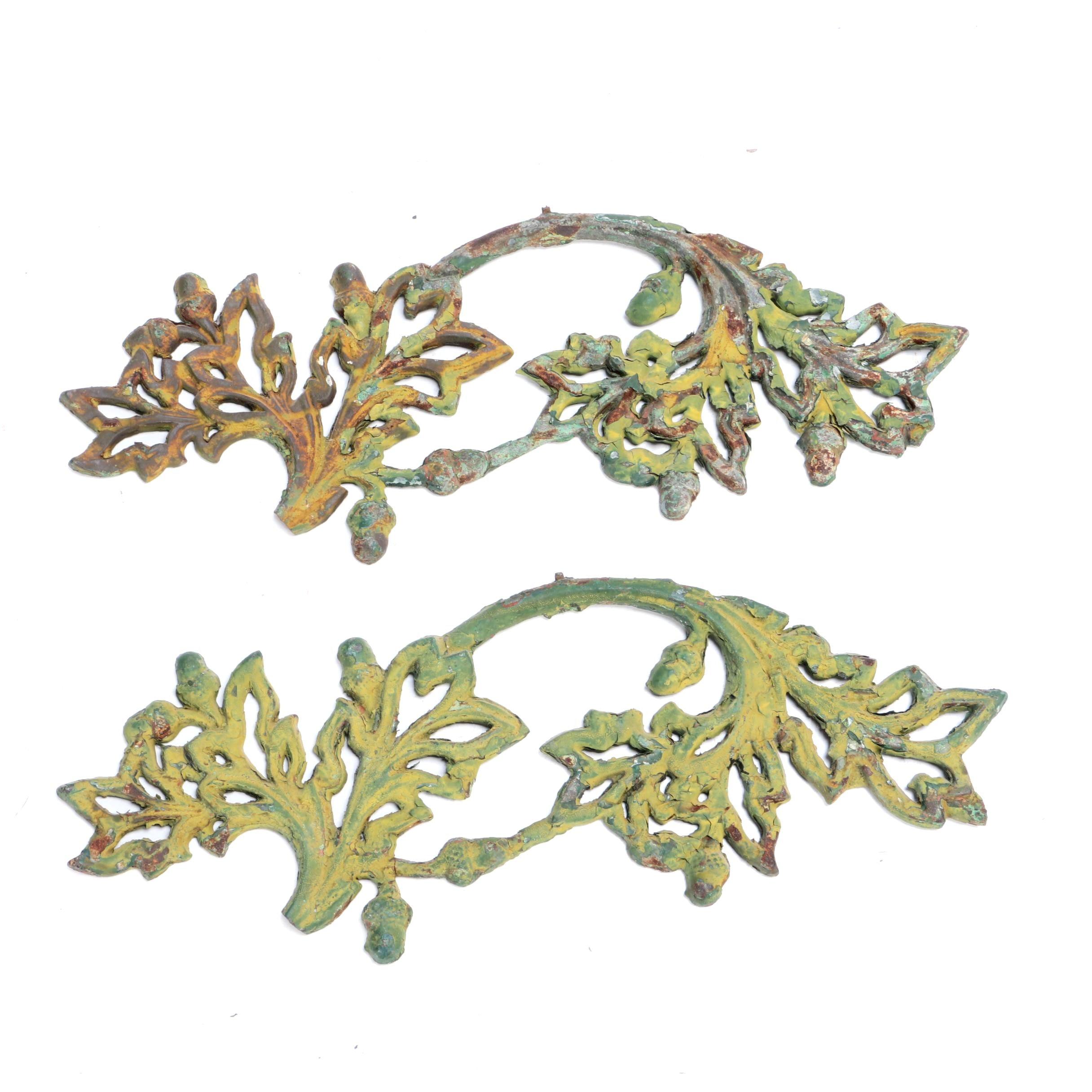 Wrought Iron Acorn and Oak Garden Decor