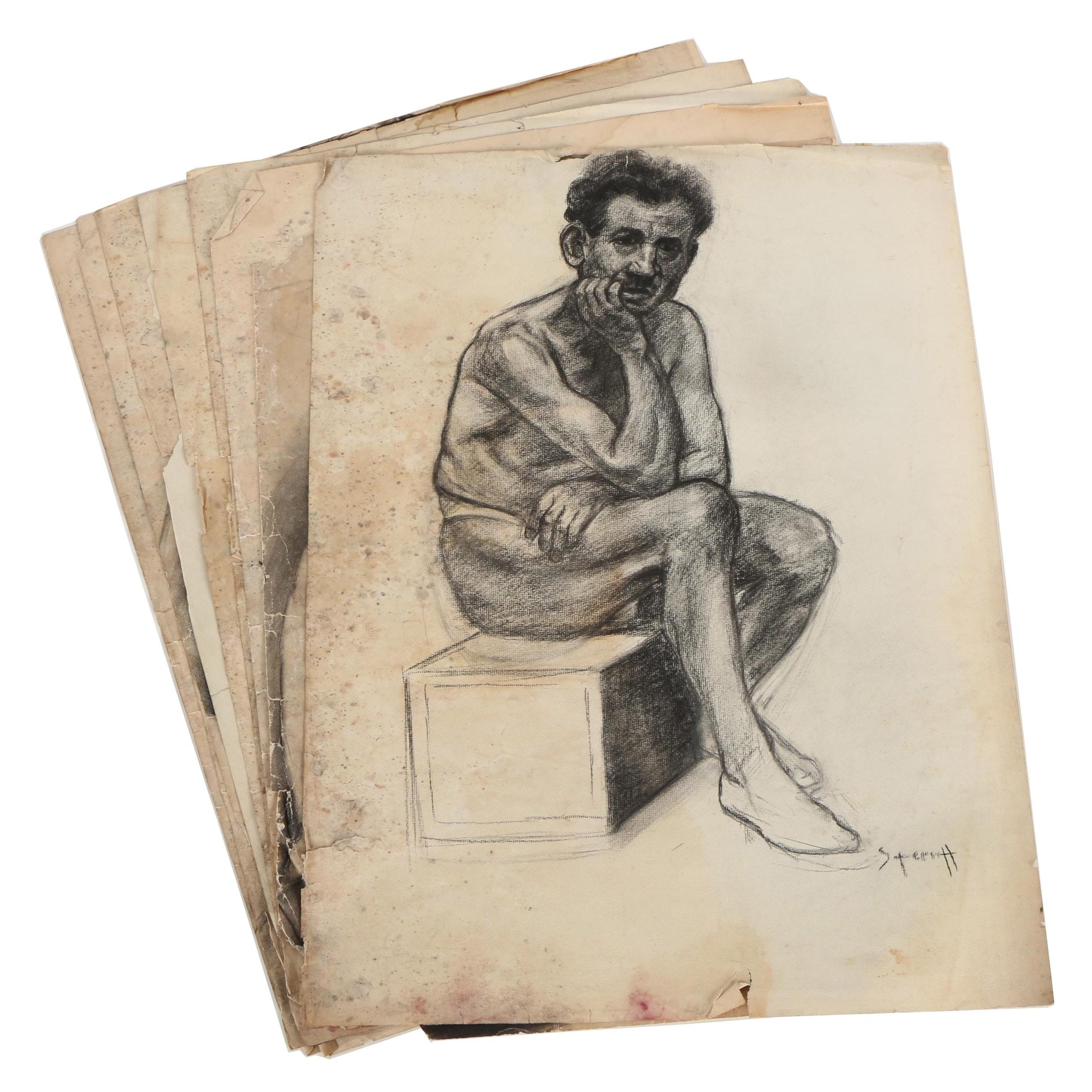 Paul Sterritt 1930s Charcoal Drawings