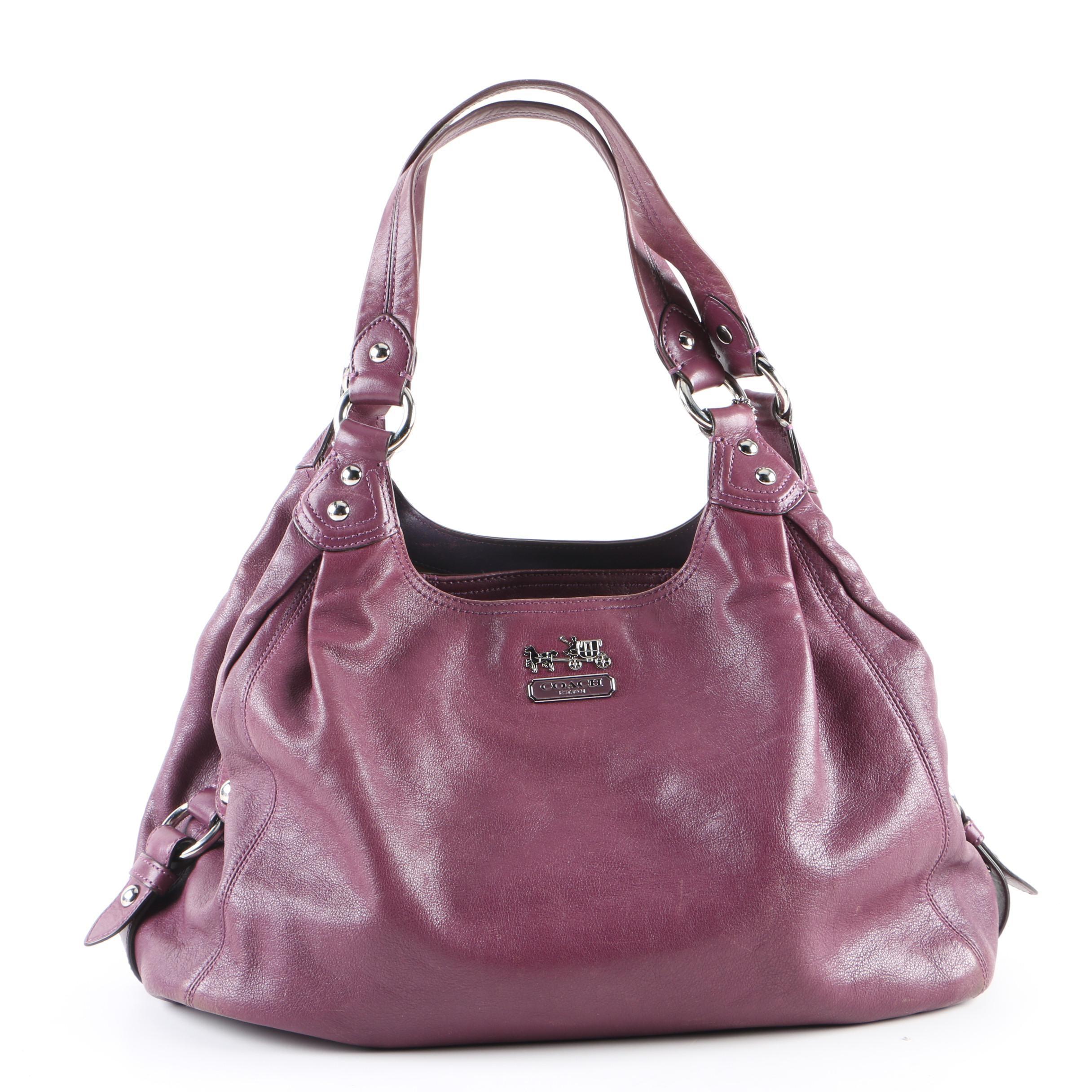 Coach Madison Maggie Plum Leather Hobo Bag