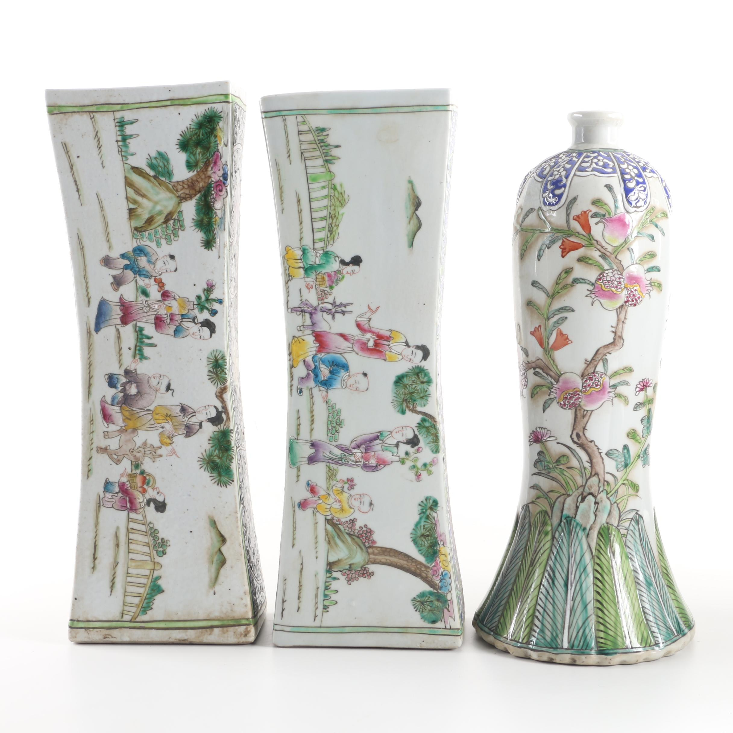 Chinese Ceramic Pillows and Floral and Foliate Themed Vase