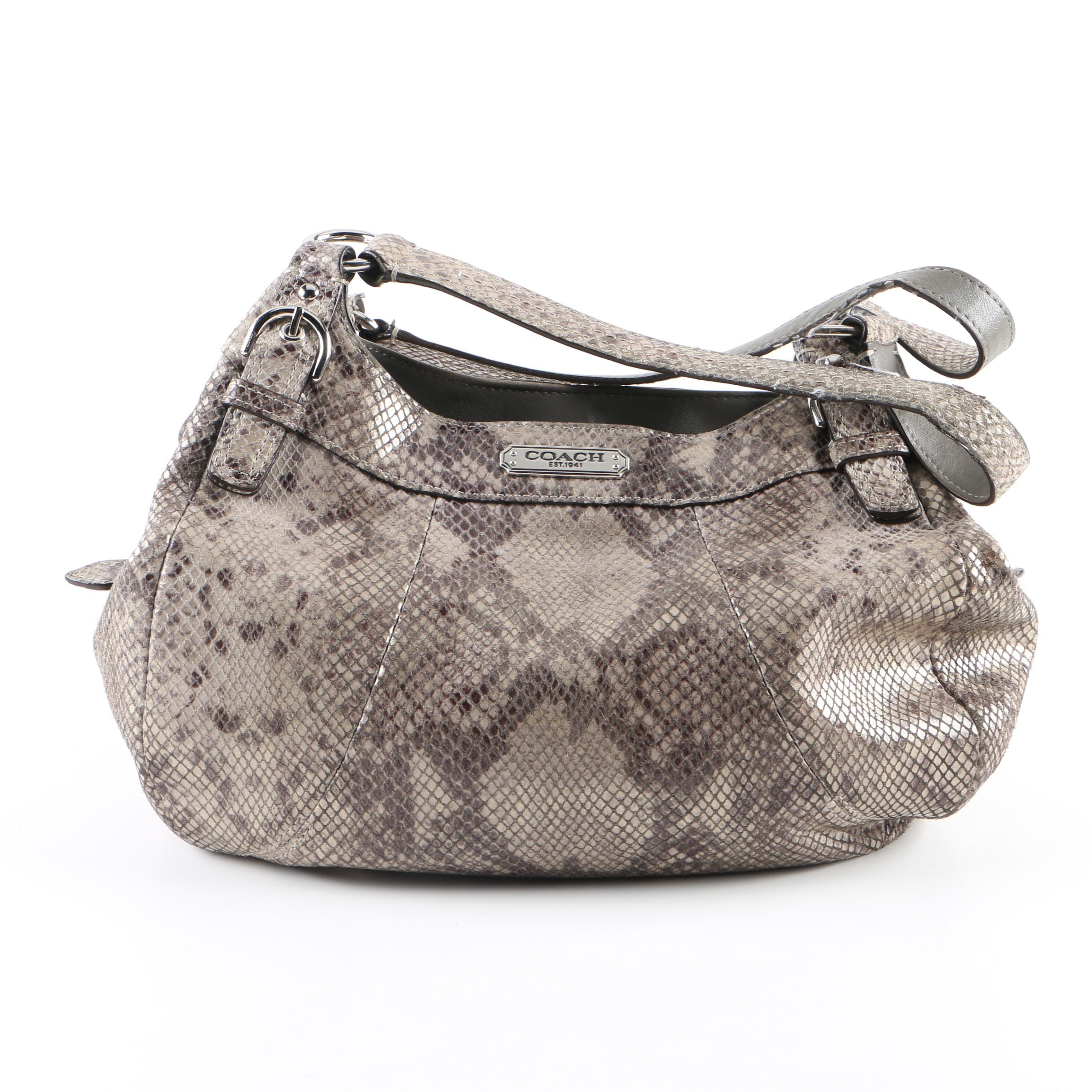 Coach Madison Python Skin Embossed Leather Hobo Bag