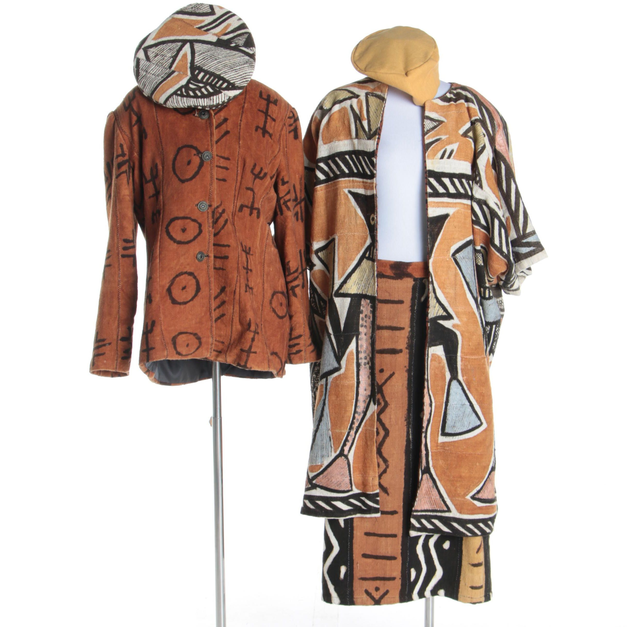 Women's Vintage Handmade African Mudcloth-Style Jackets, Hats and Skirt