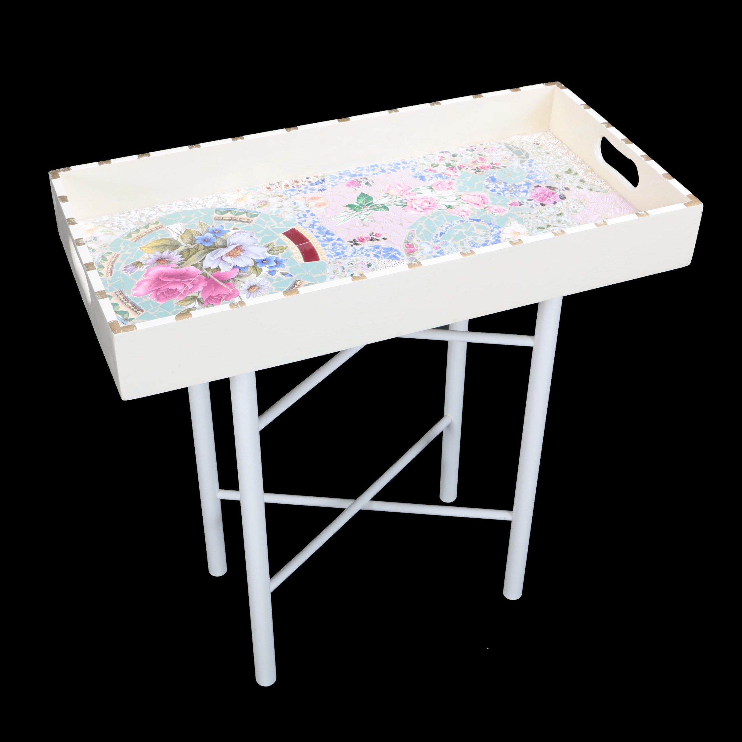 Flower Mosaic Tray and Folding Stand