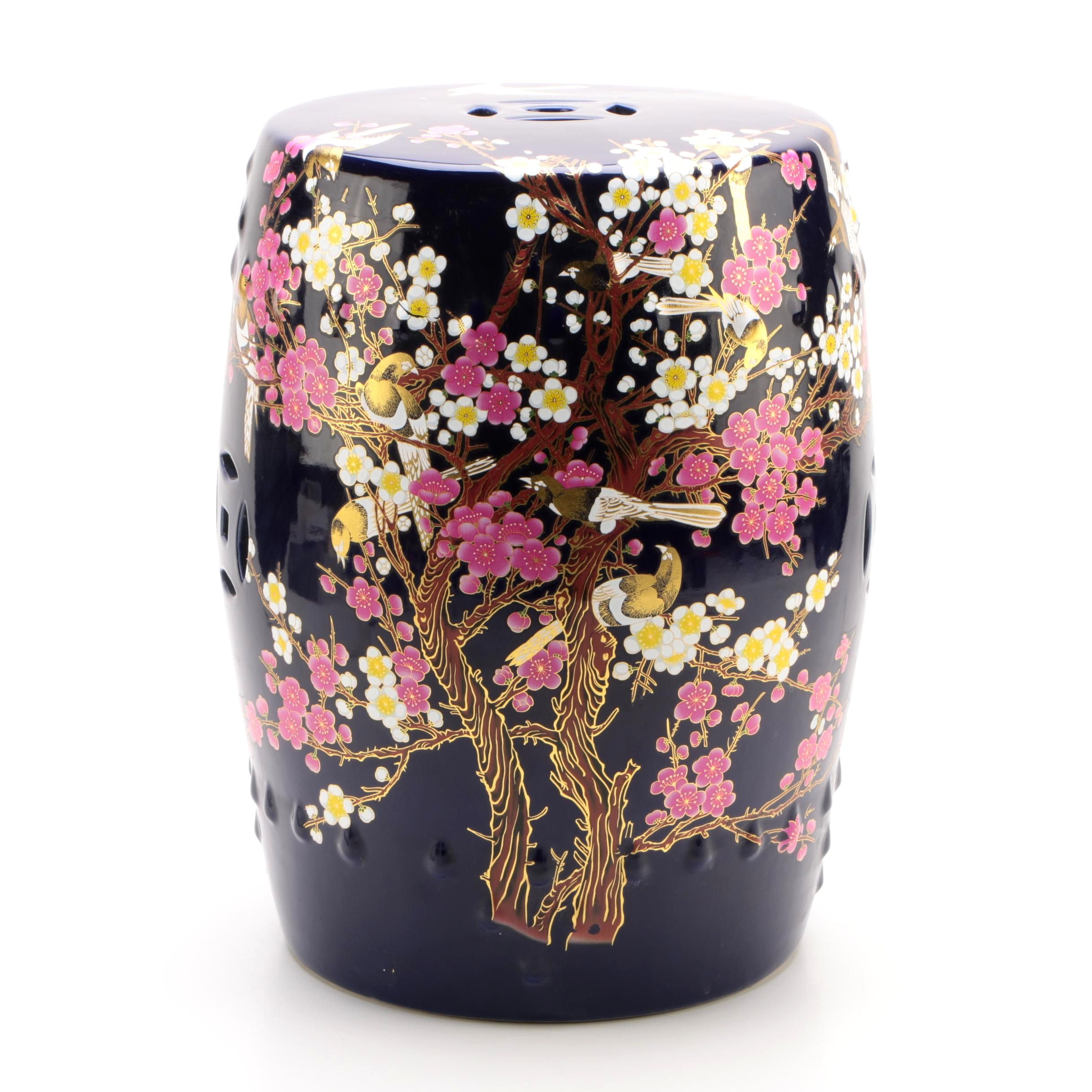 Chinese Hand-Painted Porcelain Garden Stool with Cherry Blossom and Bird Motif