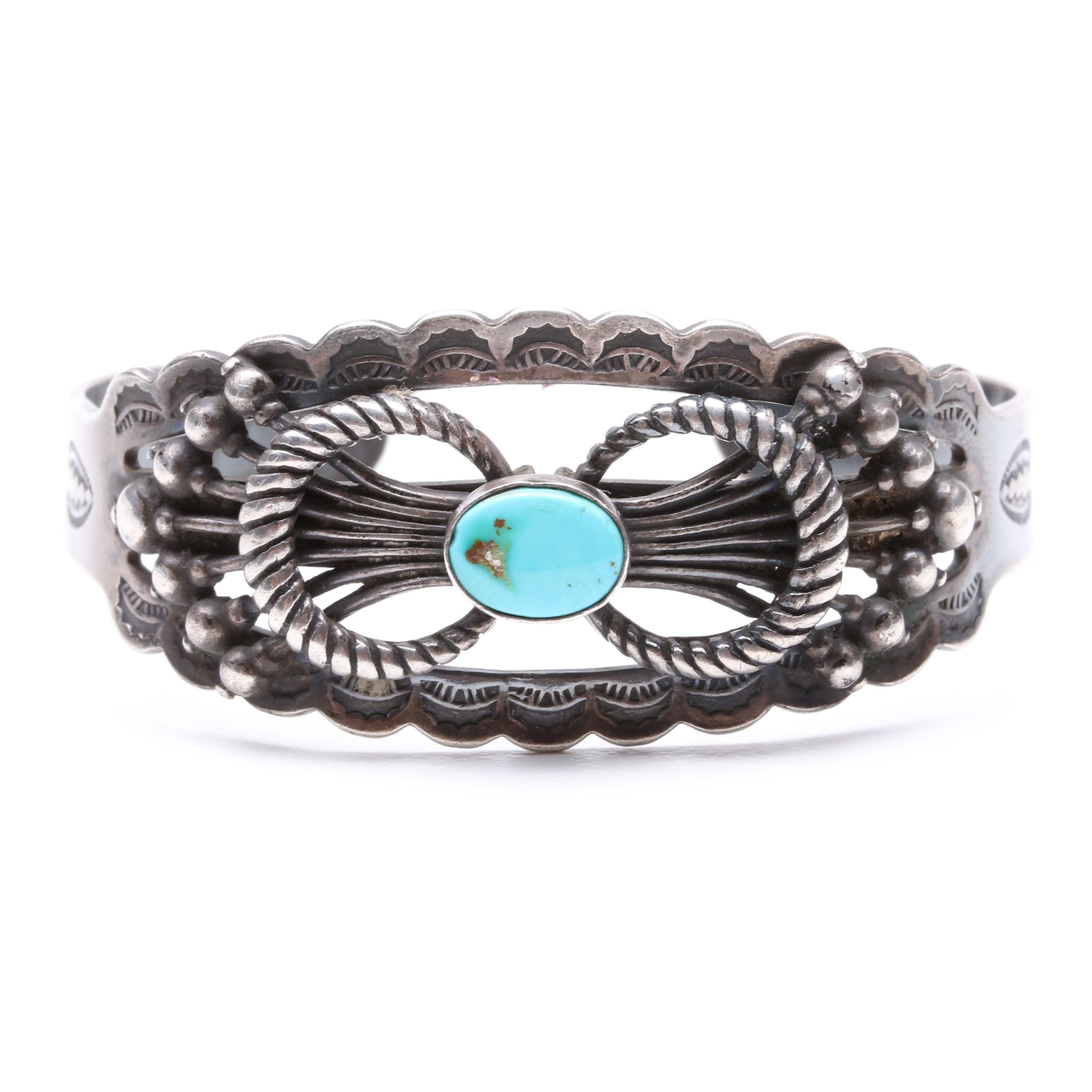 Southwest Style Sterling Silver Turquoise Cuff Bracelet