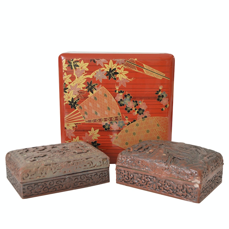 Japanese Stacked Lacquerware Box and Chinese Cinnabar Carved Boxes