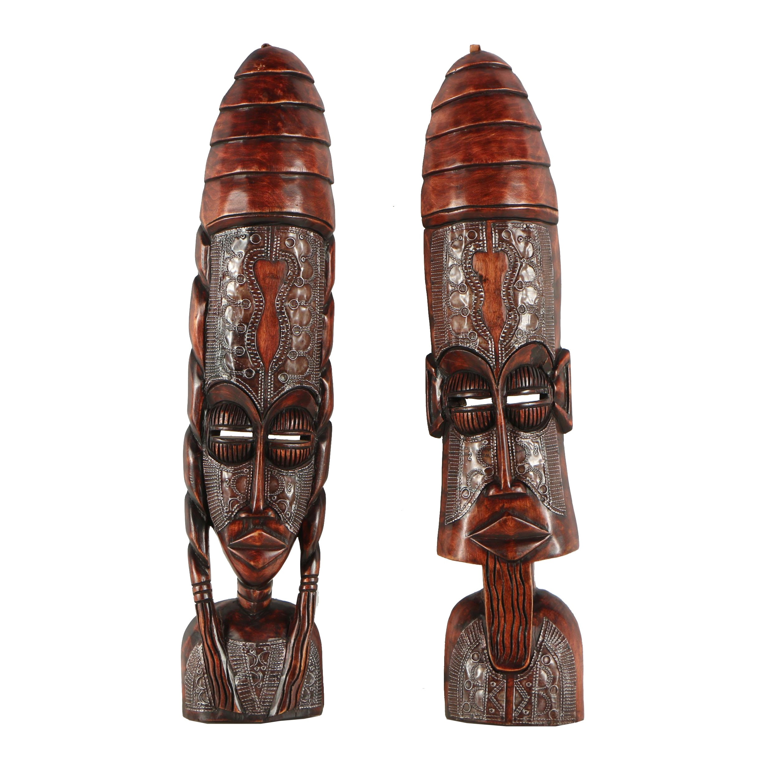 Pair Ghanaian Style Masks with Inlaid Metal