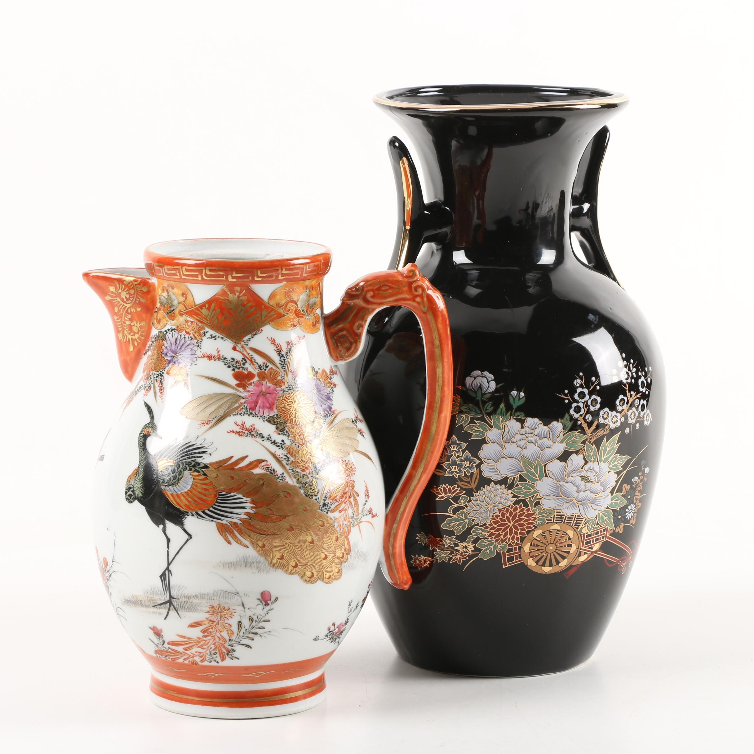 Asian Hand-Painted Porcelain Vase and Pitcher