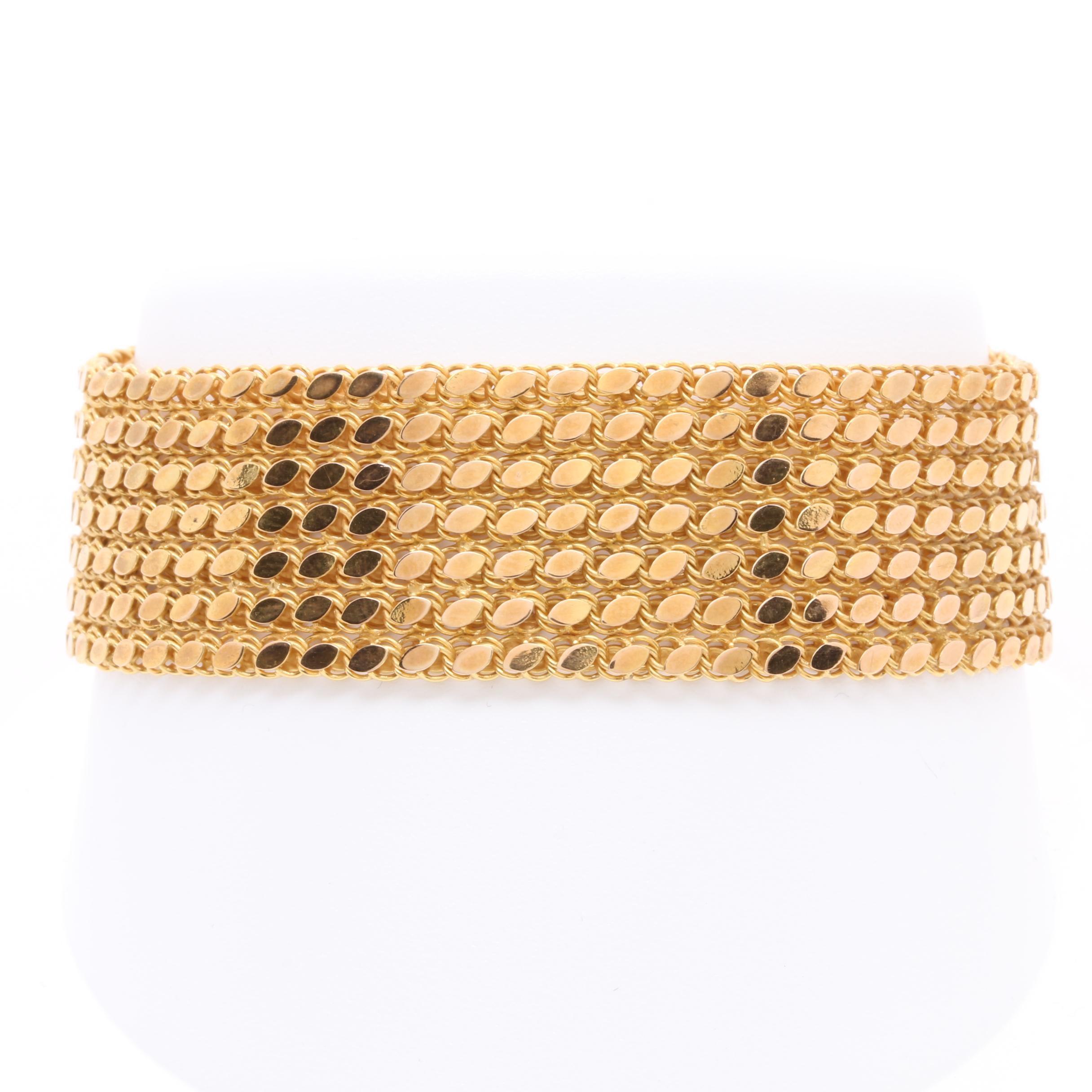 14K Yellow Gold Ribbon Link Bracelet