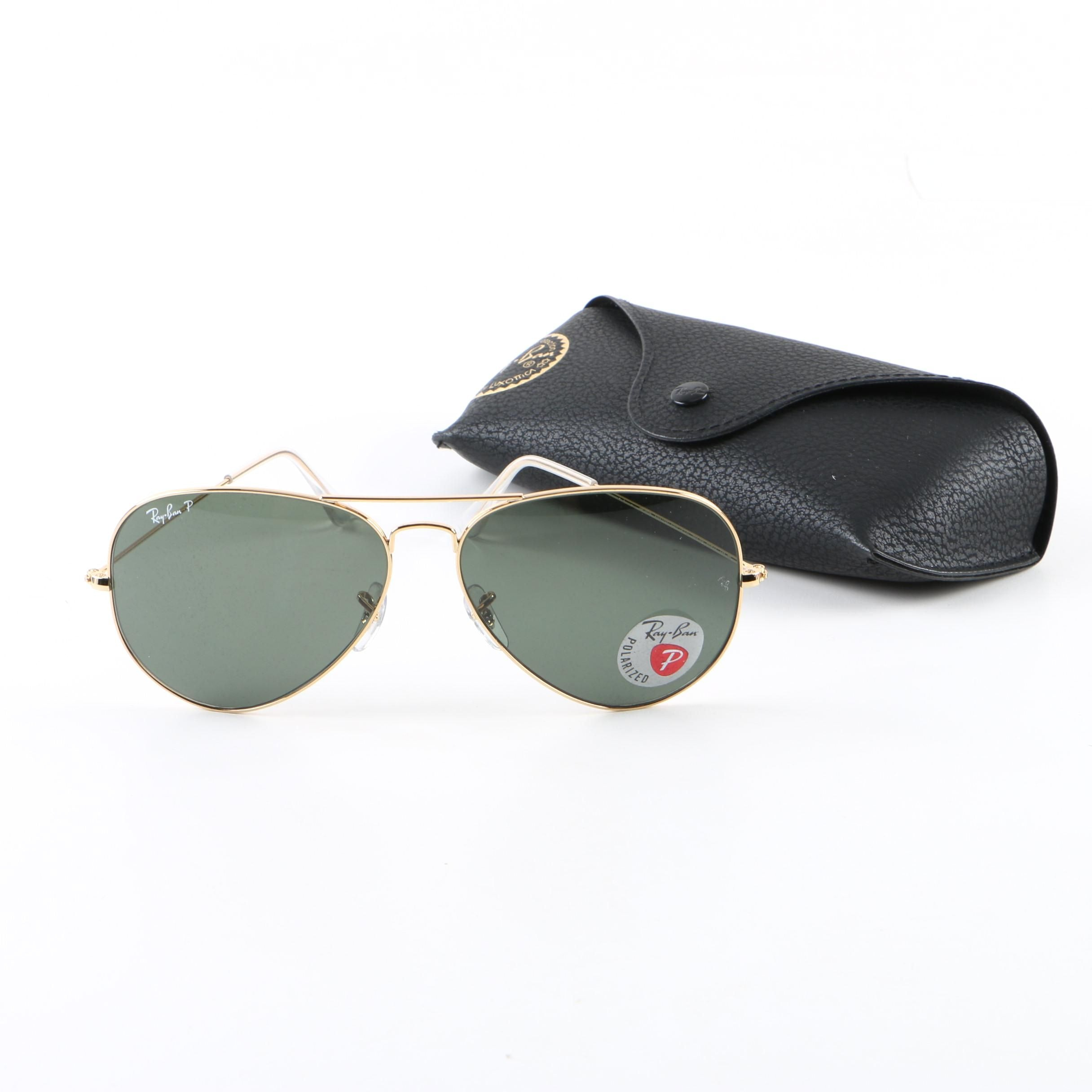 Ray-Ban RB 3025 Aviator Polarized Sunglasses with Case