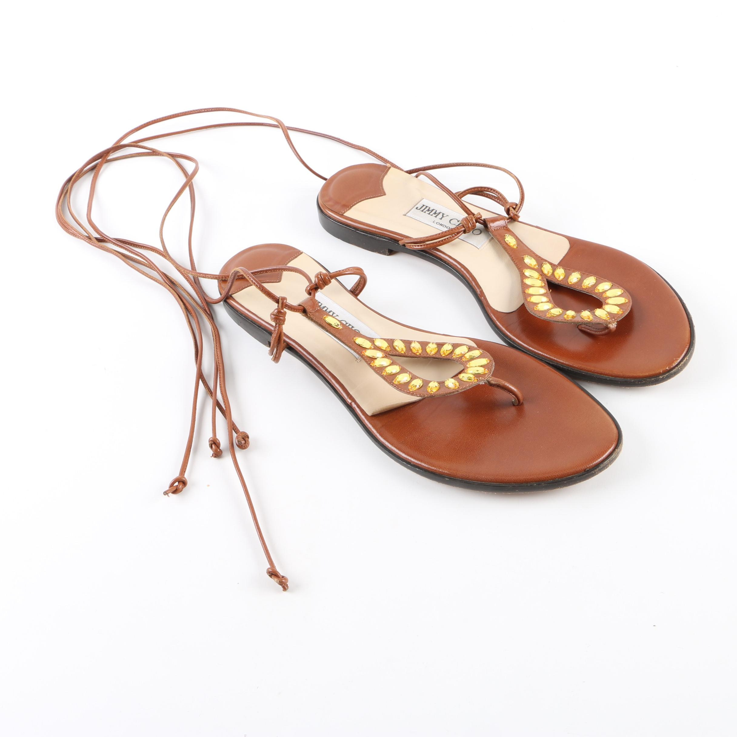 Women's Jimmy Choo London Sandals Brown Leather Sandals with Rhinestone Accents