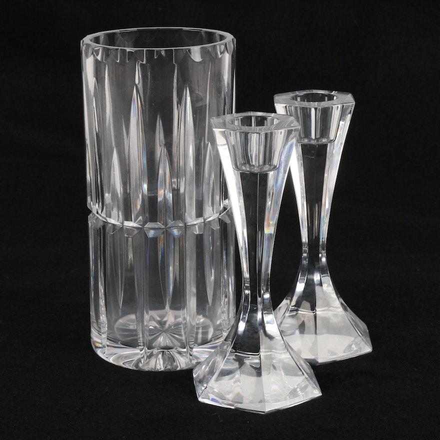 Esk Crystal Vase With Atlantis Crystal Candlesticks Ebth