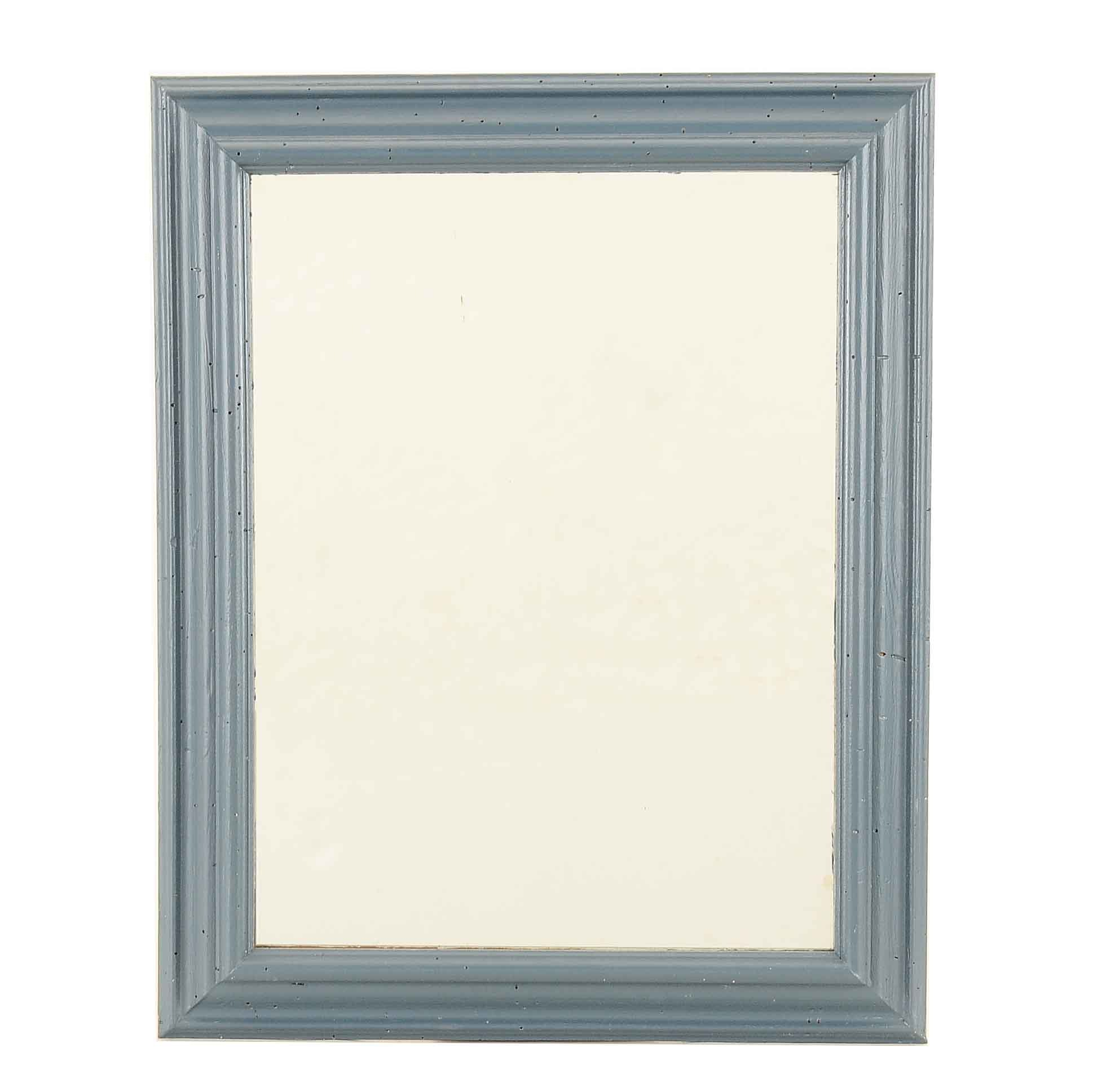 Blue Painted Wood Frame Wall Mirror