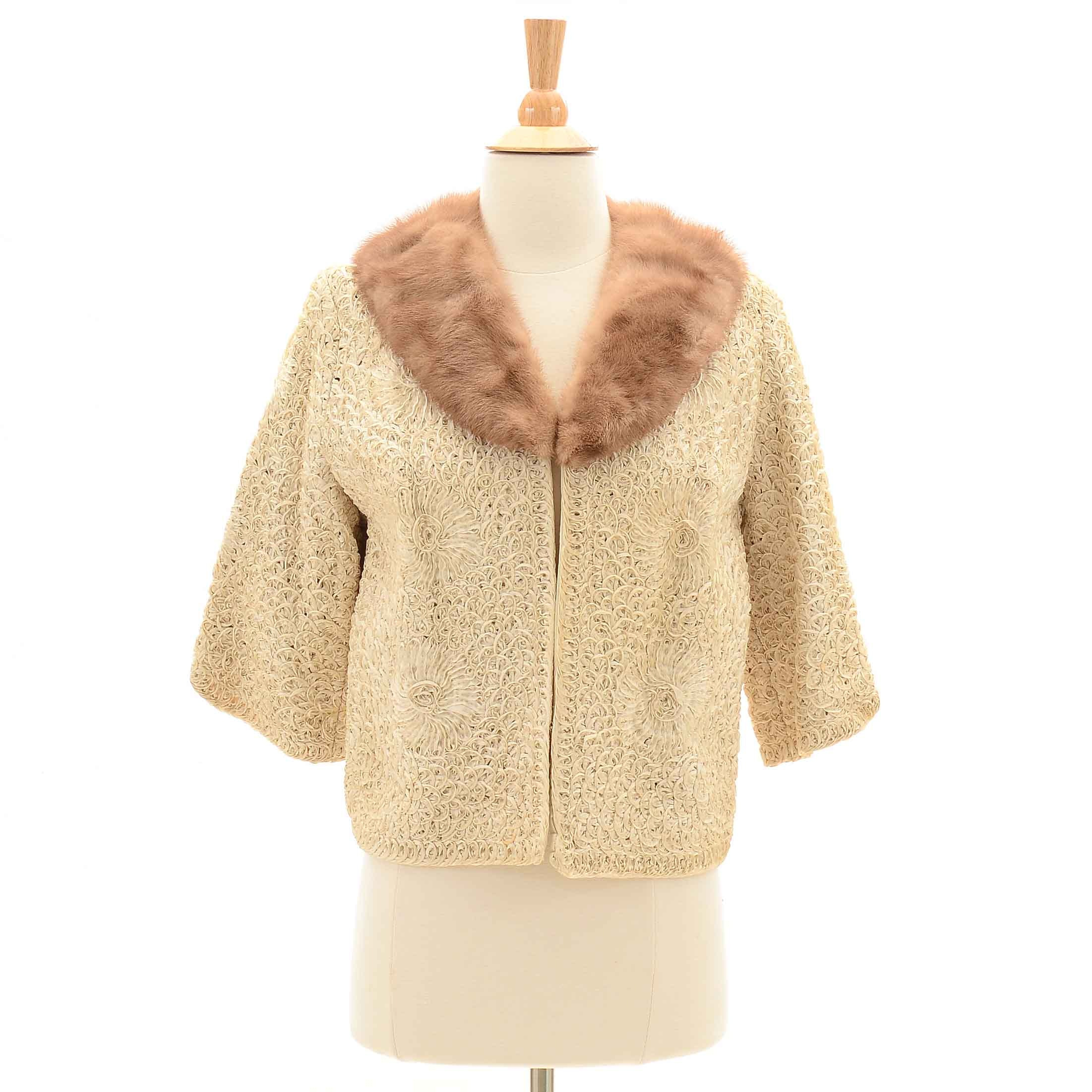 Vintage Ribbon Work Jacket with Mink Collar