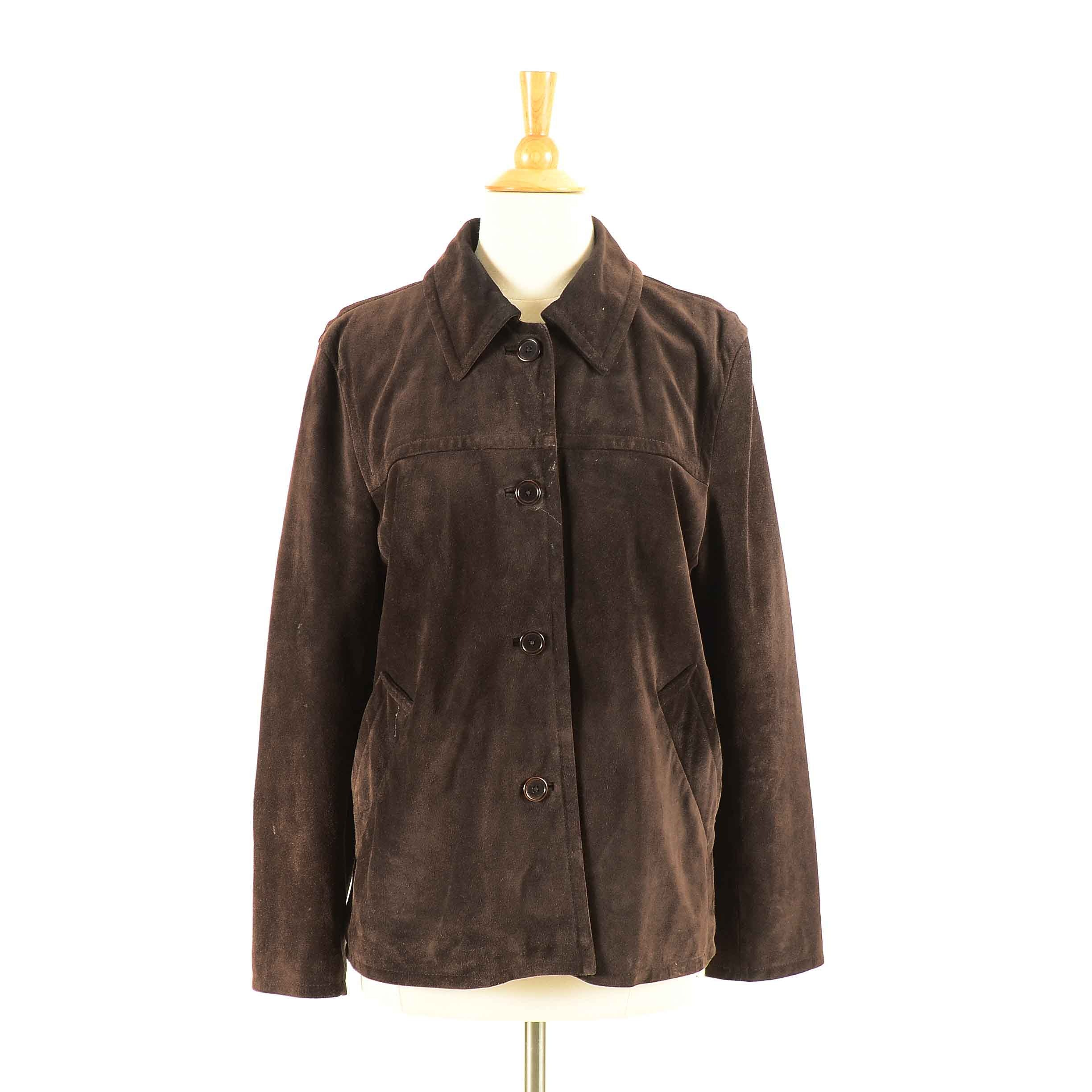 Coach Brown Suede Button-Front Jacket