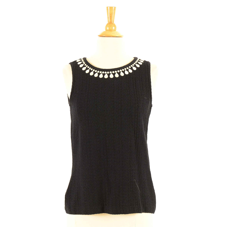 St. John Collection Embellished Black Knit Sleeveless Blouse