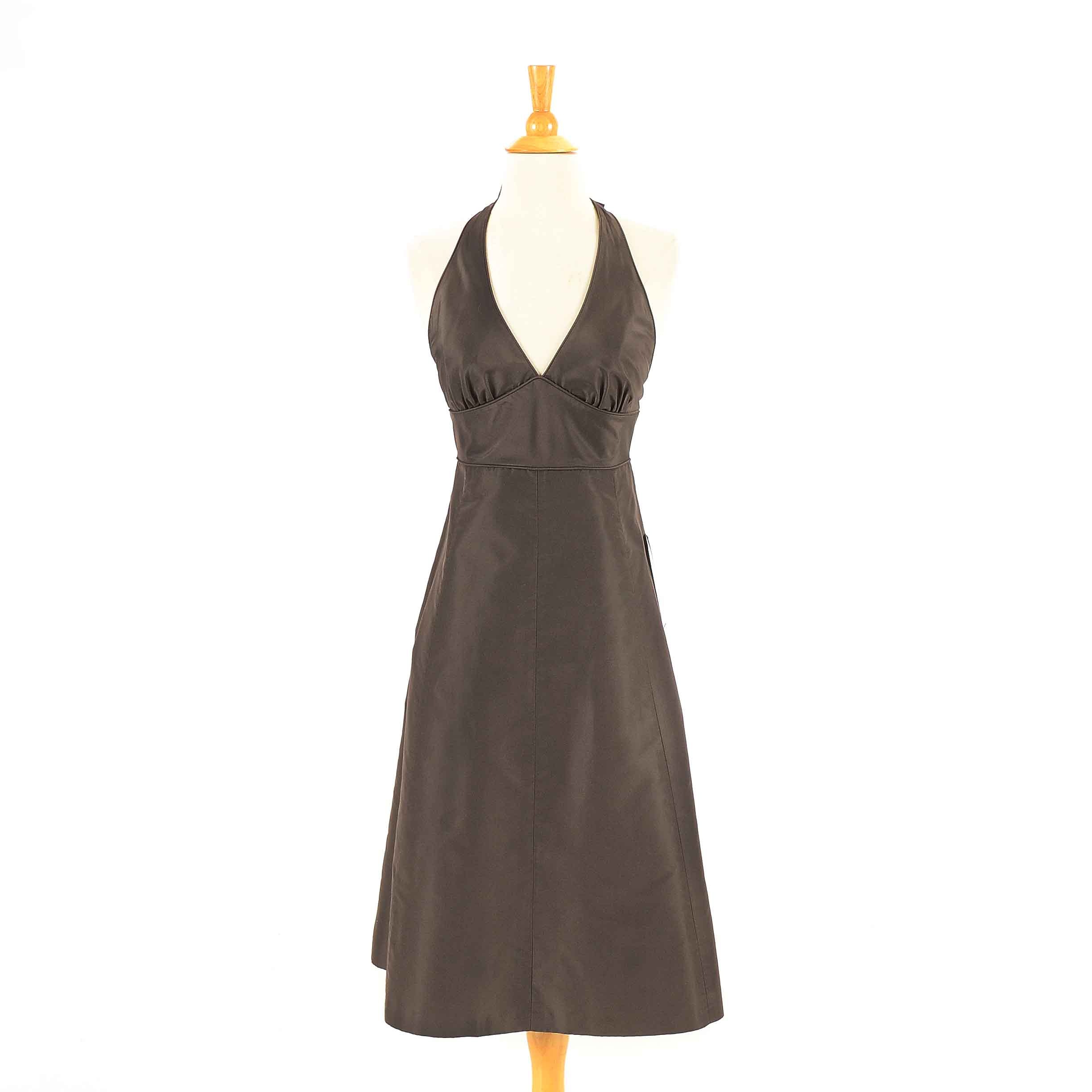 J. Crew Brown Silk Halter Dress