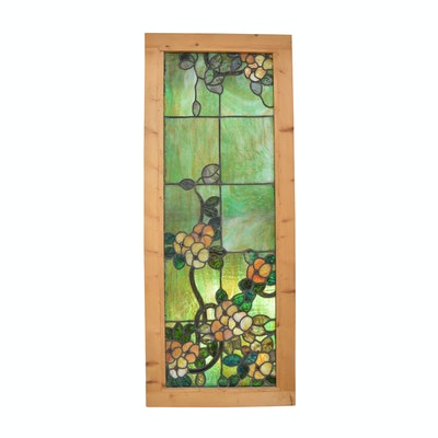 Vintage Stained Glass Window with Attached Side Shutters